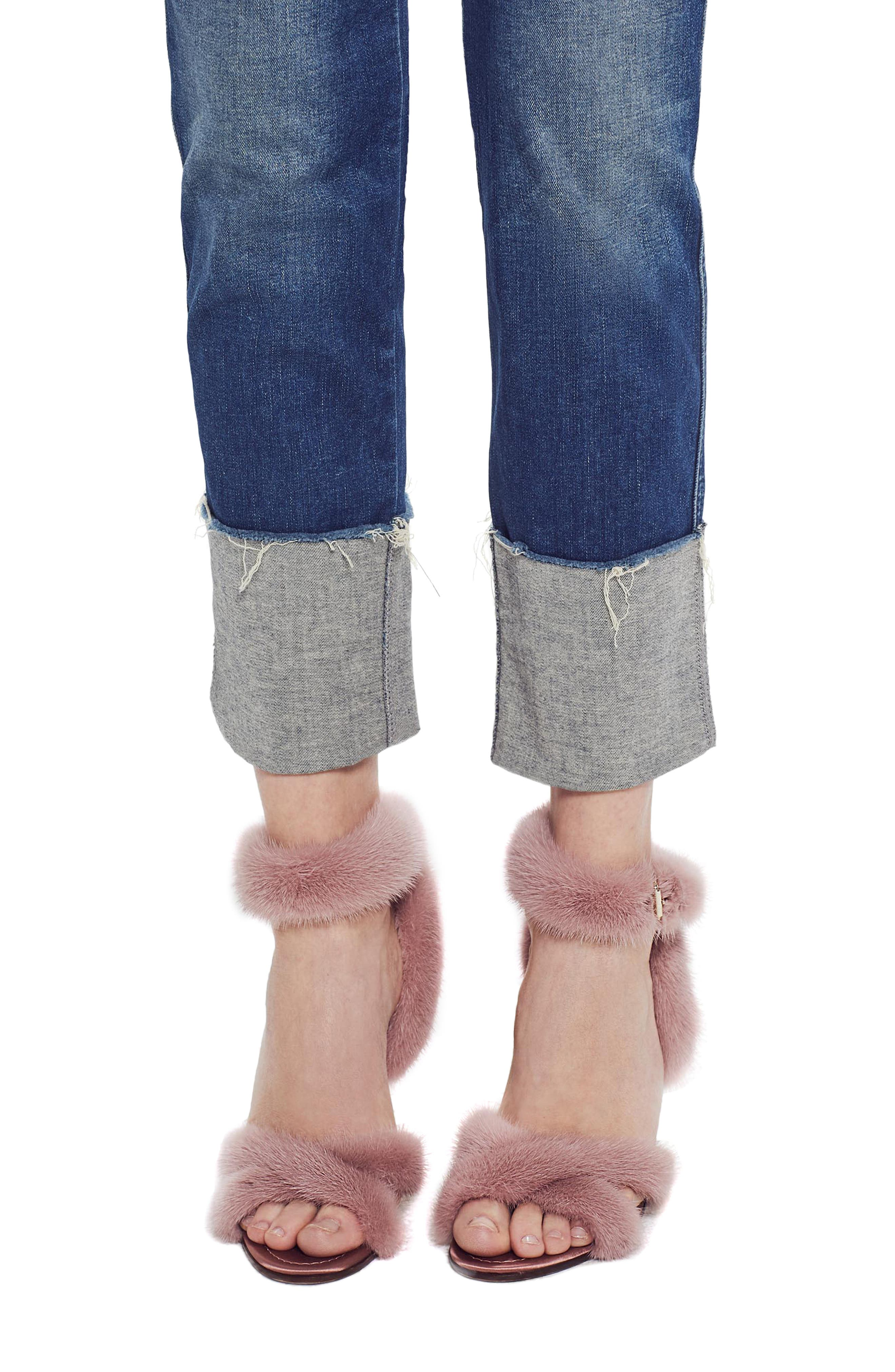 MOTHER, The Pony Boy Frayed Ankle Tapered Jeans, Alternate thumbnail 5, color, LURE ME IN