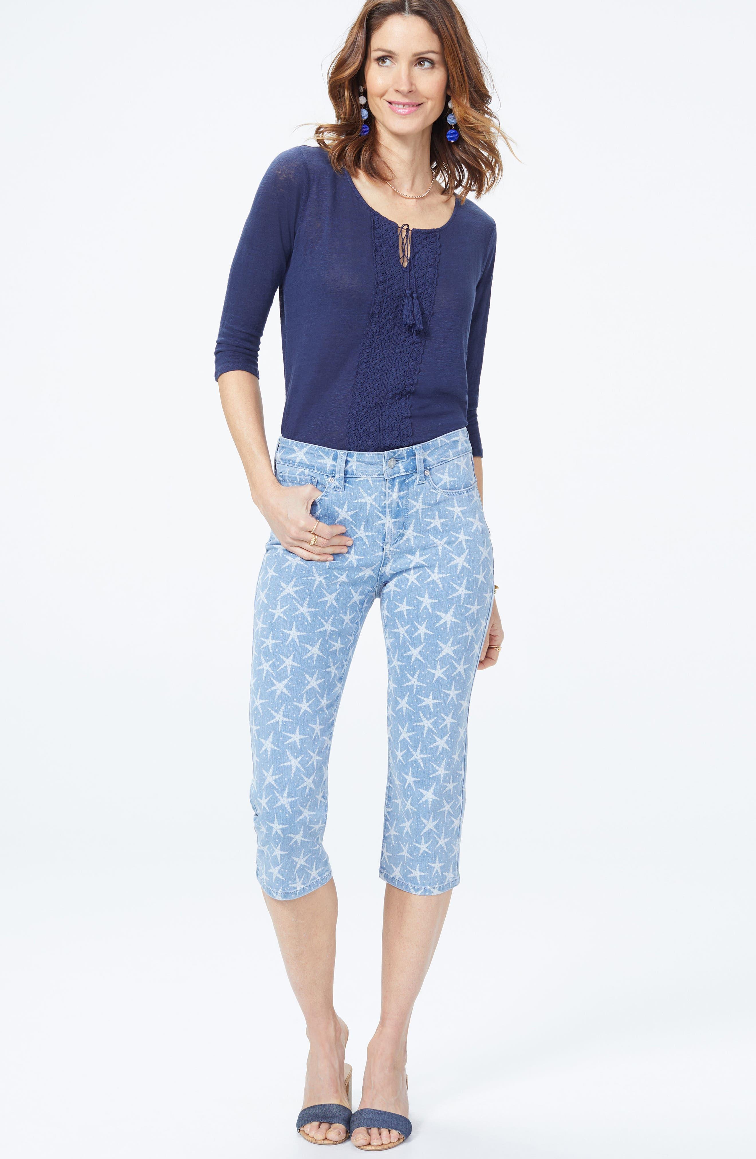 NYDJ, High Waist Seastar Print Stretch Crop Jeans, Alternate thumbnail 5, color, SEASTAR DISCHARGE PRINT