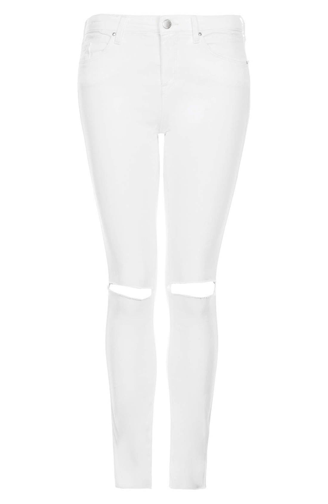 TOPSHOP, Moto 'Leigh' Distressed Skinny Jeans, Alternate thumbnail 2, color, 100
