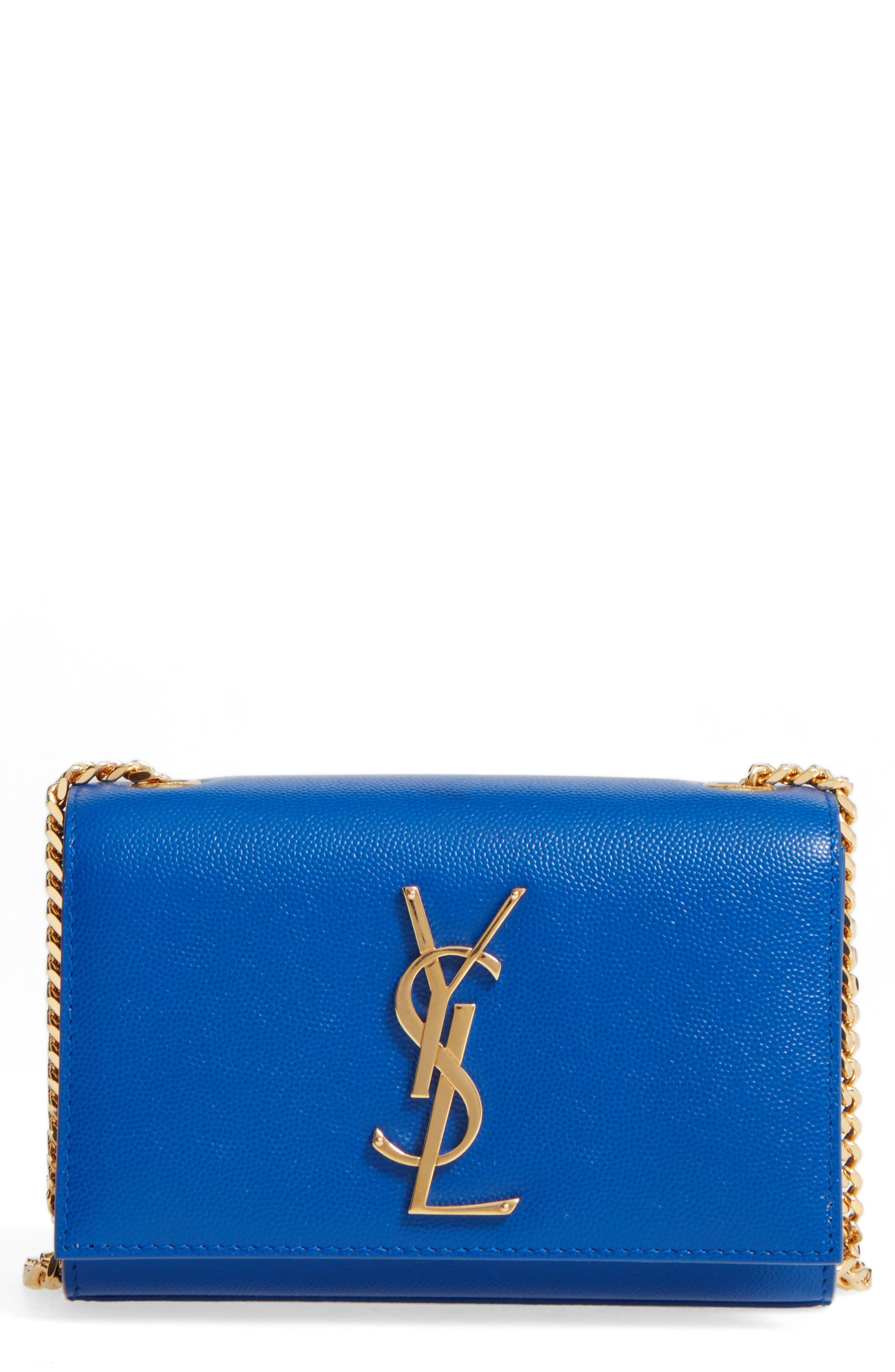 SAINT LAURENT, Small Kate Chain Crossbody Bag, Main thumbnail 1, color, ELECTRIC BLUE