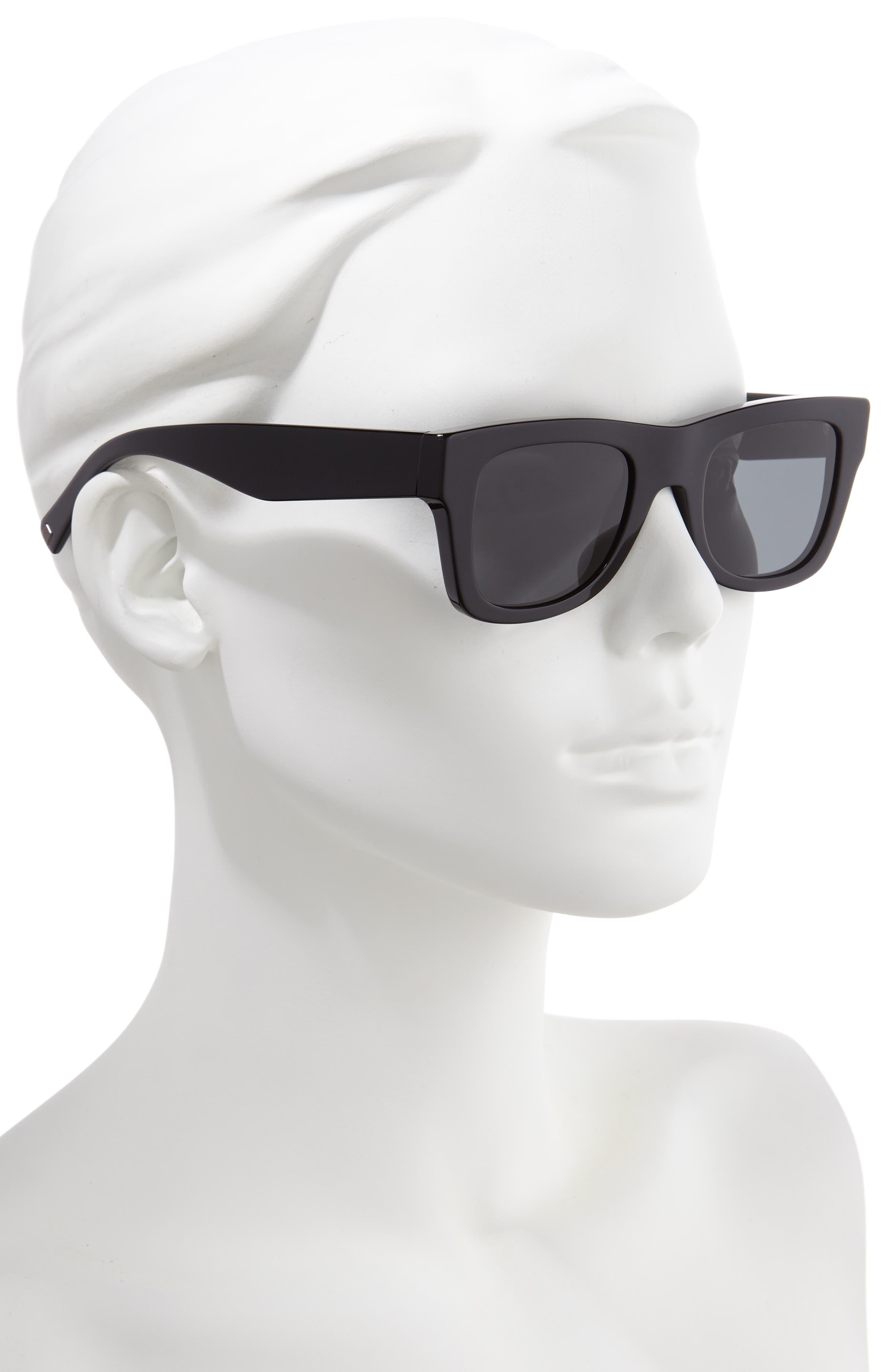 VALENTINO, VLTN 50mm Square Sunglasses, Alternate thumbnail 2, color, BLACK SOLID