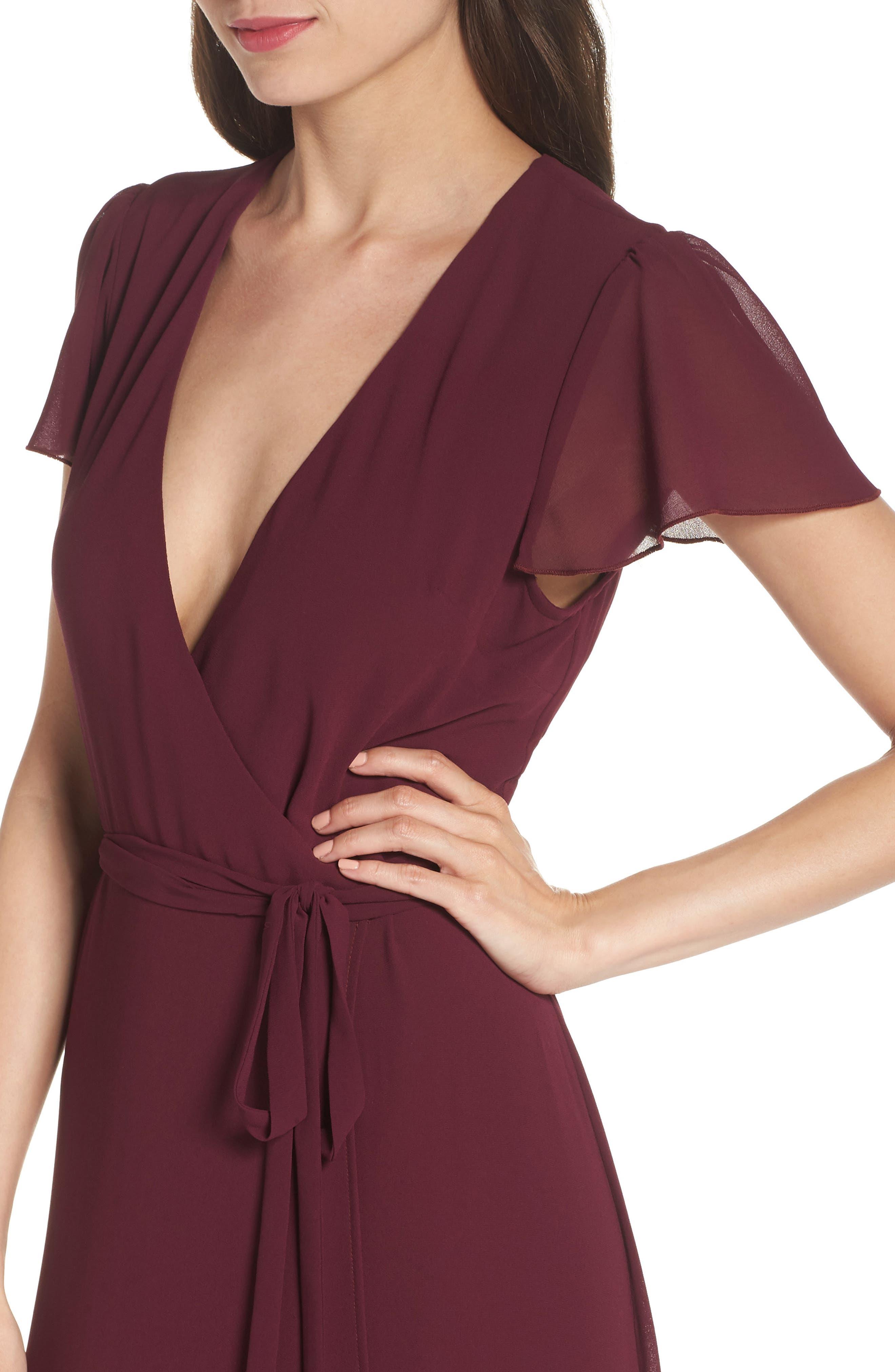 SHOW ME YOUR MUMU, Noelle Wrap Dress, Alternate thumbnail 5, color, MERLOT CHIFFON