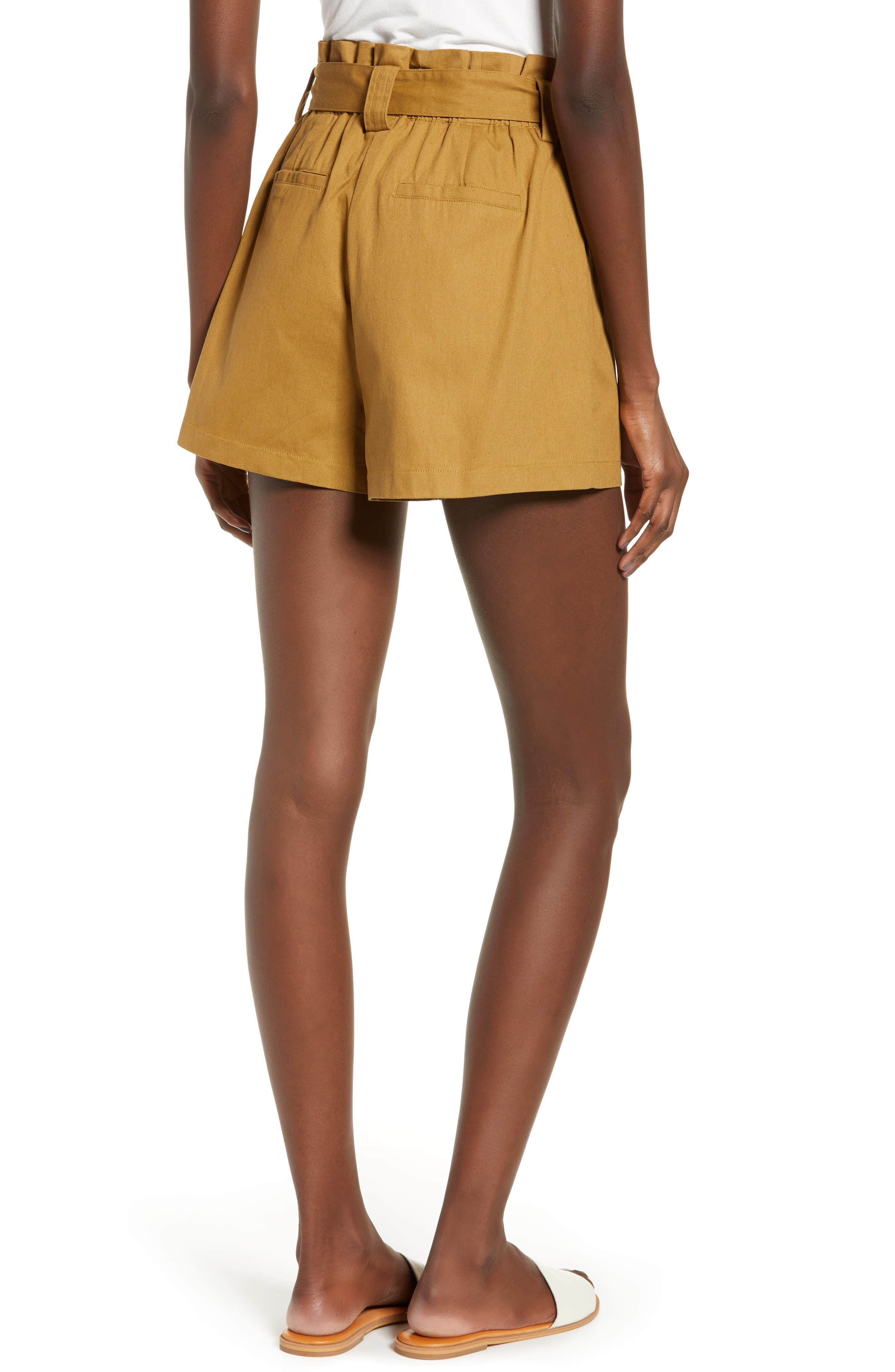 ALL IN FAVOR, Paperbag Waist Shorts, Alternate thumbnail 3, color, CAMEL
