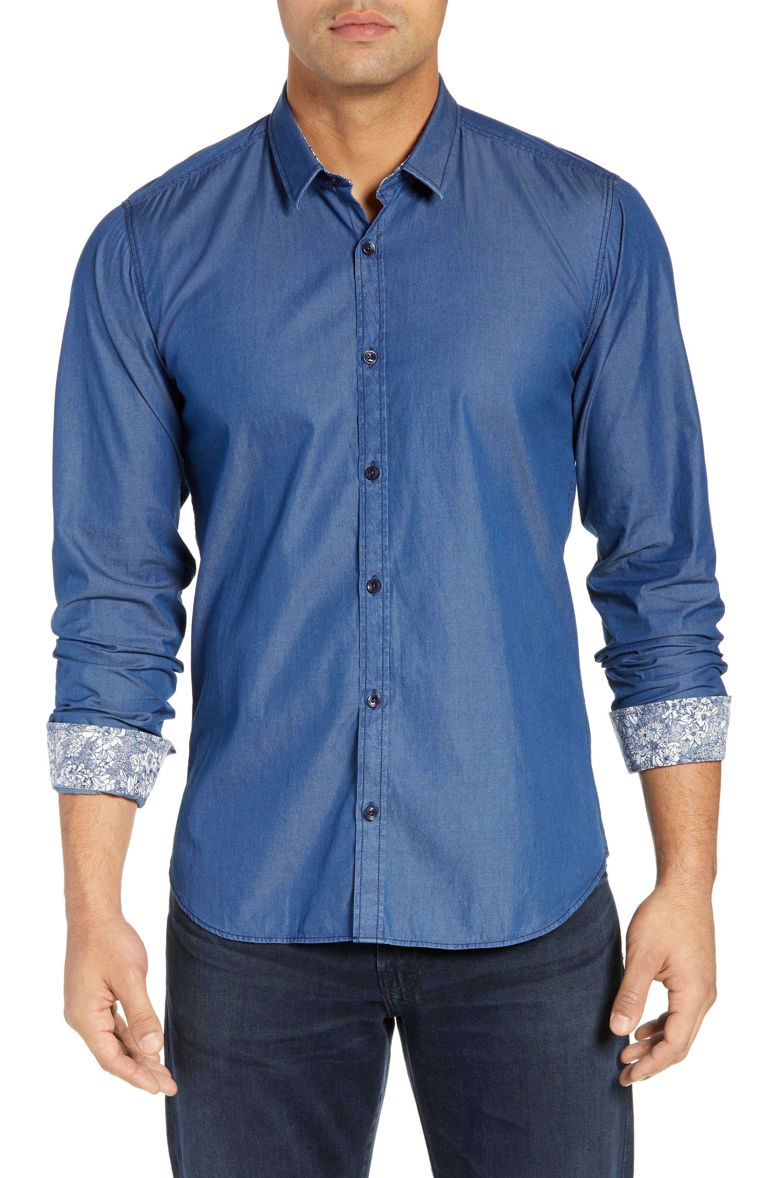 JARED LANG, Slim Fit Chambray Sport Shirt, Main thumbnail 1, color, CHAMBRAY