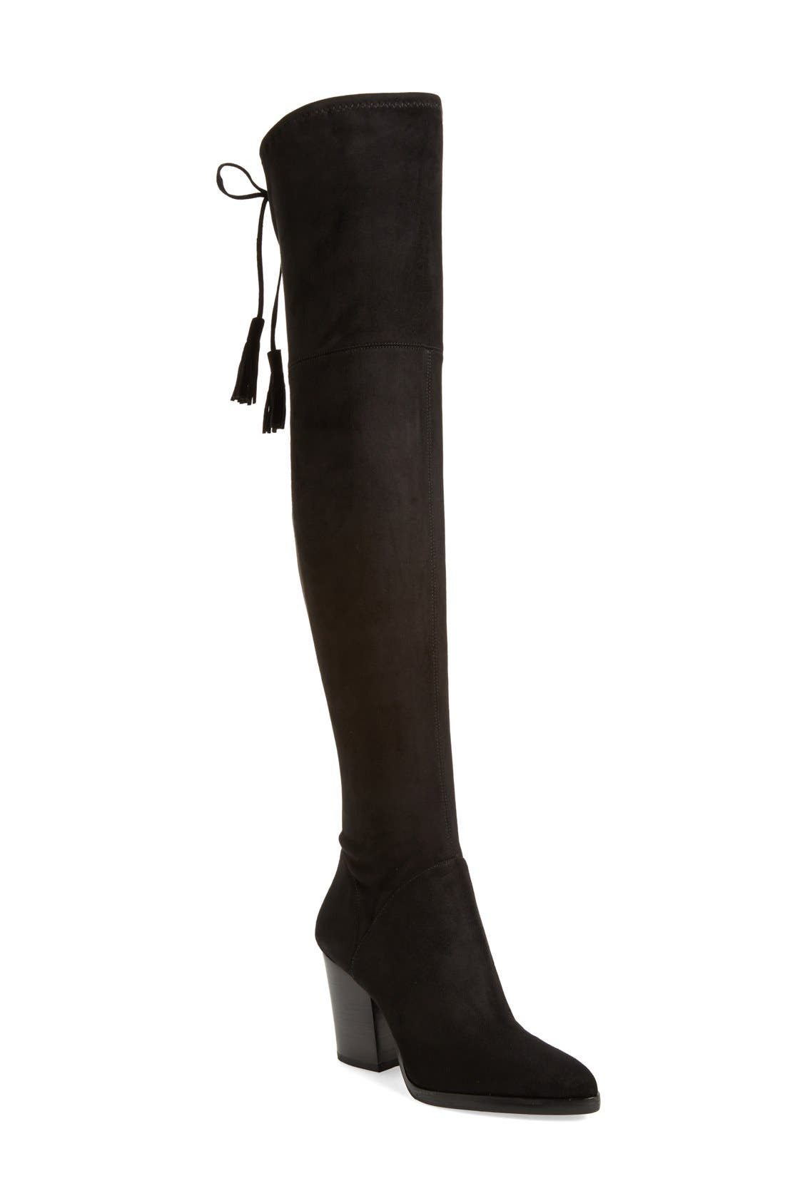 MARC FISHER LTD, Alinda Over the Knee Boot, Main thumbnail 1, color, BLACK STRETCH FABRIC