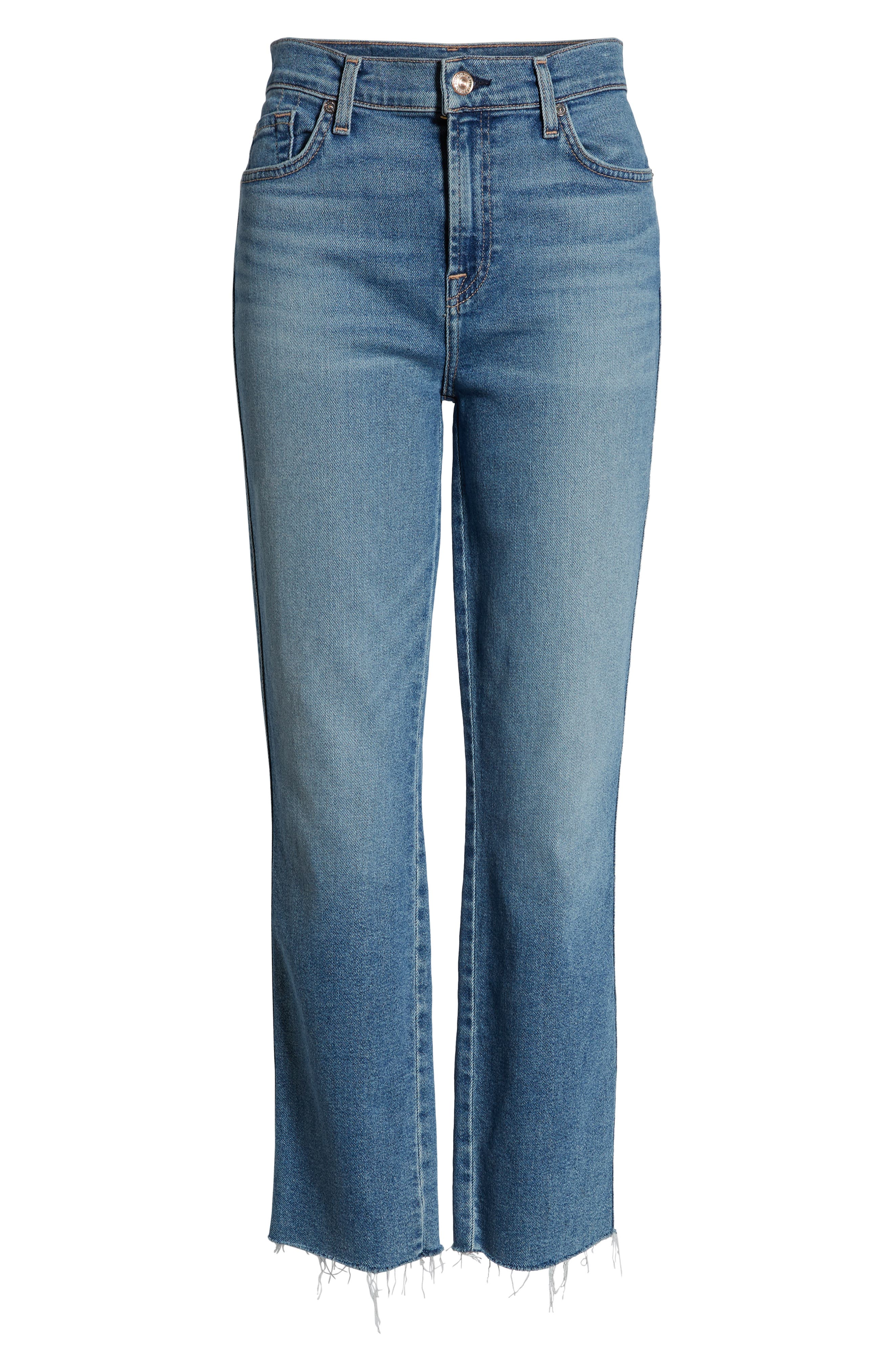 7 FOR ALL MANKIND<SUP>®</SUP>, Edie High Waist Crop Jeans, Alternate thumbnail 7, color, LUXE VINTAGE FLORA