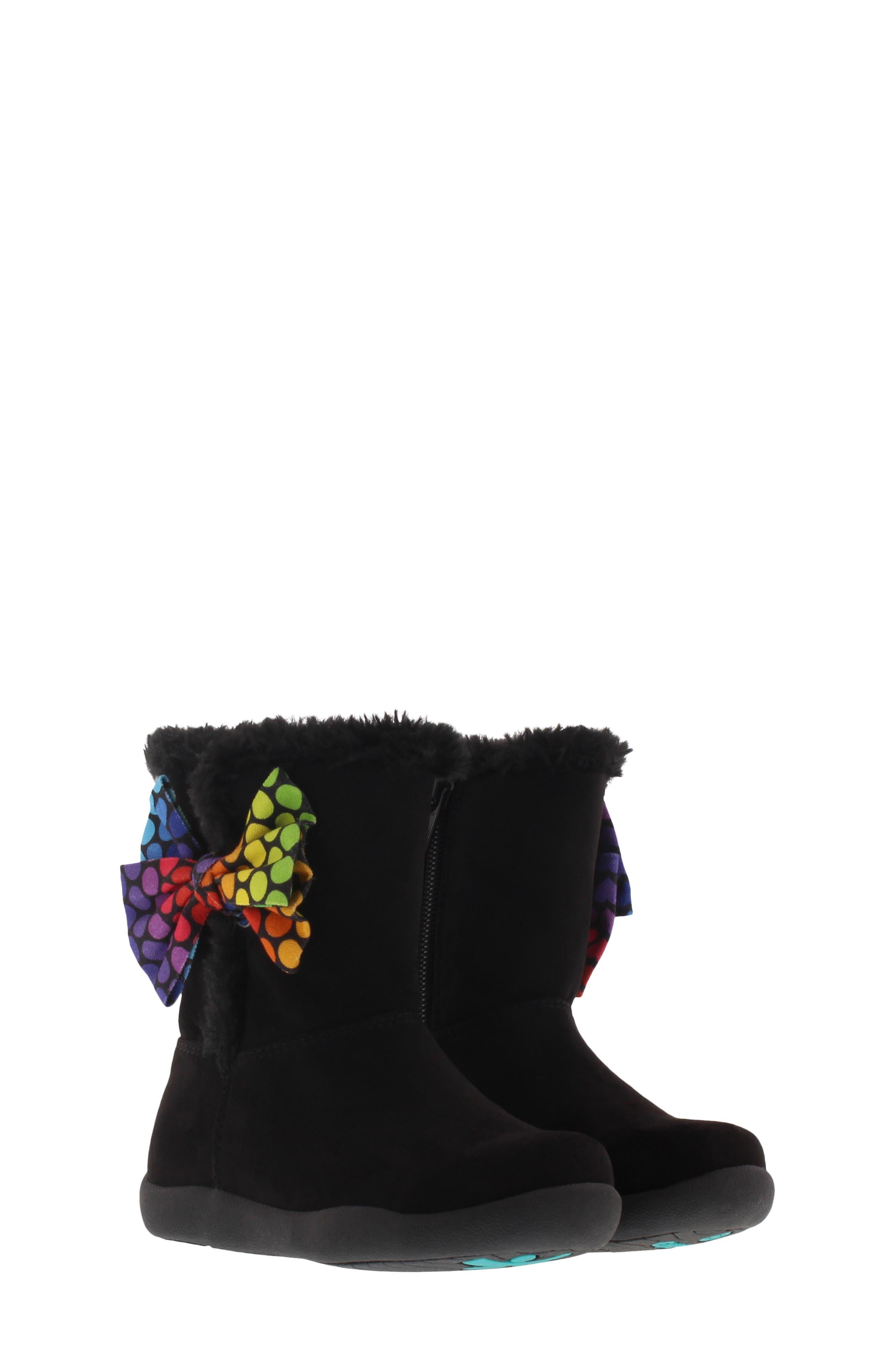 CHOOZE Wish Faux Fur Lined Boot, Main, color, BLACK