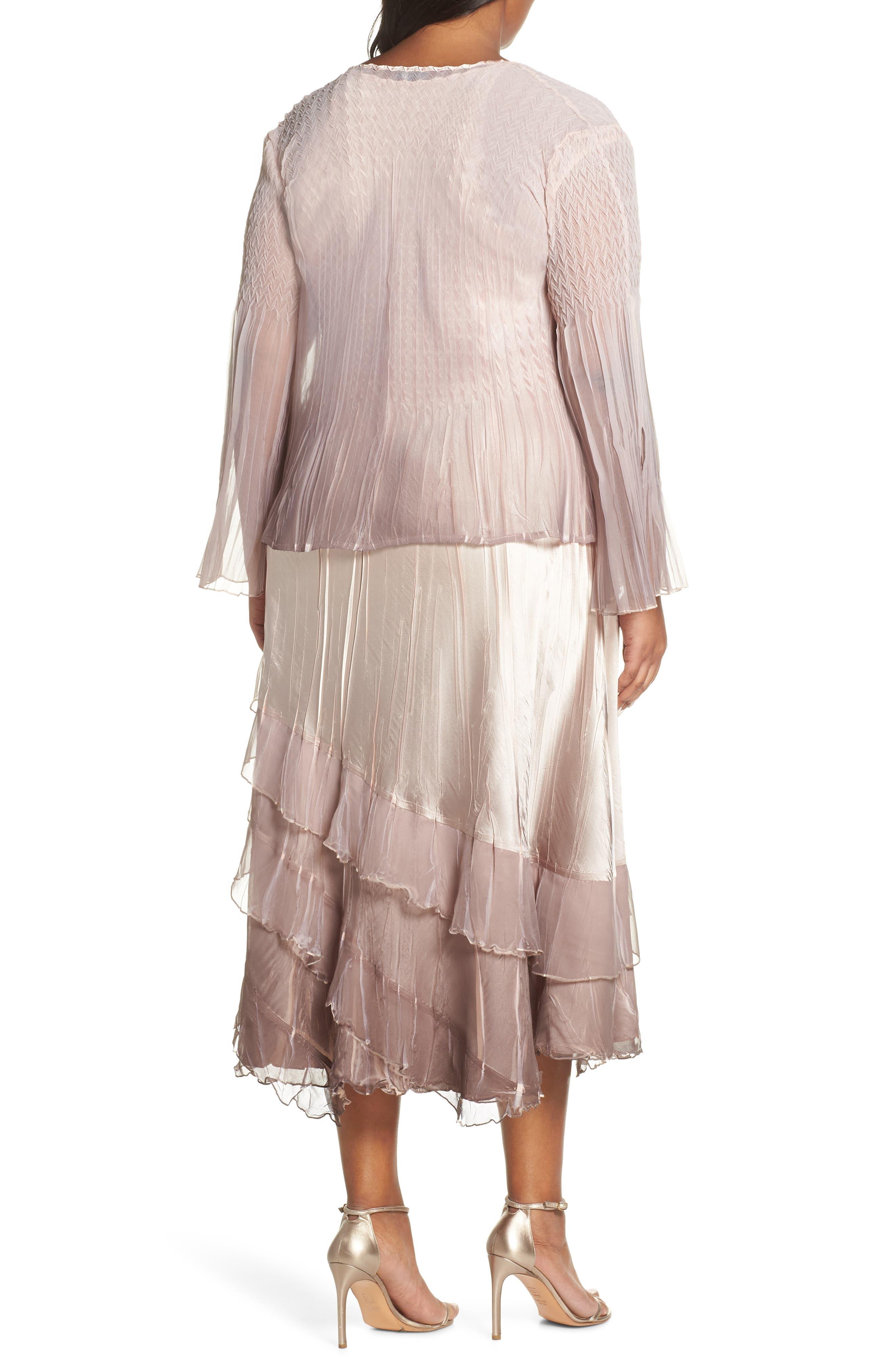 KOMAROV, Tiered Hem Ombré Dress with Jacket, Alternate thumbnail 2, color, VINTAGE ROSE WITH CAFE OMBRE