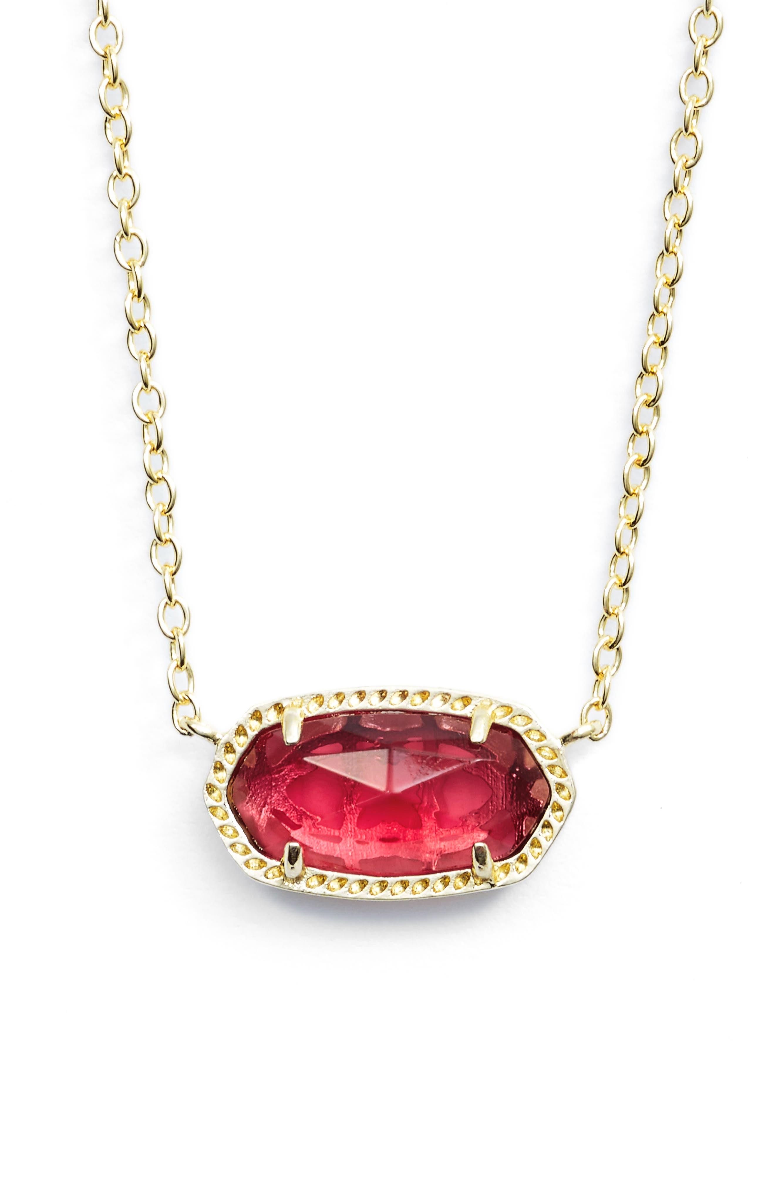 KENDRA SCOTT Elisa Birthstone Pendant Necklace, Main, color, JANUARY/BERRY/GOLD