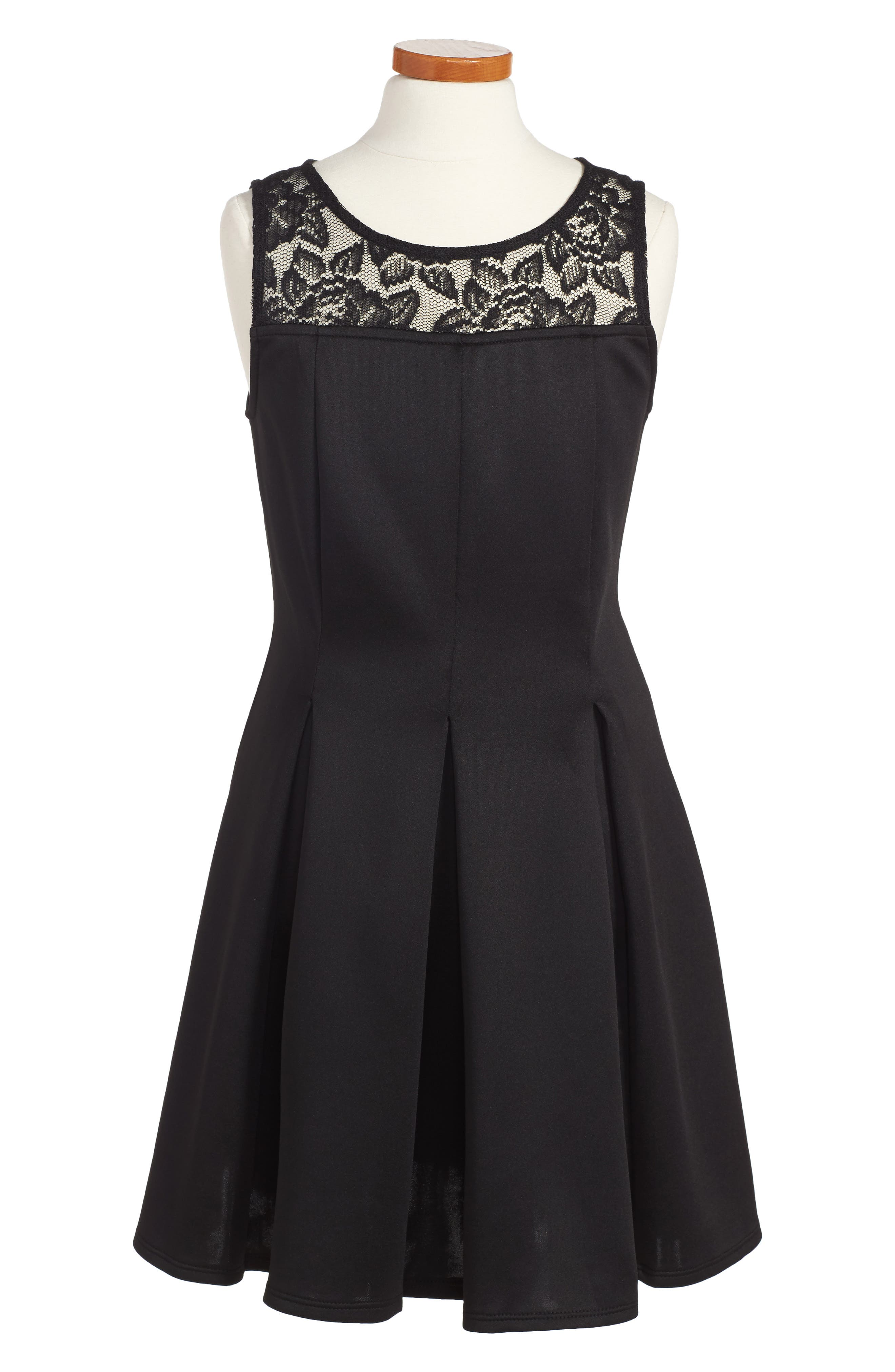 LOVE, NICKIE LEW, Pleated Dress, Main thumbnail 1, color, BLACK