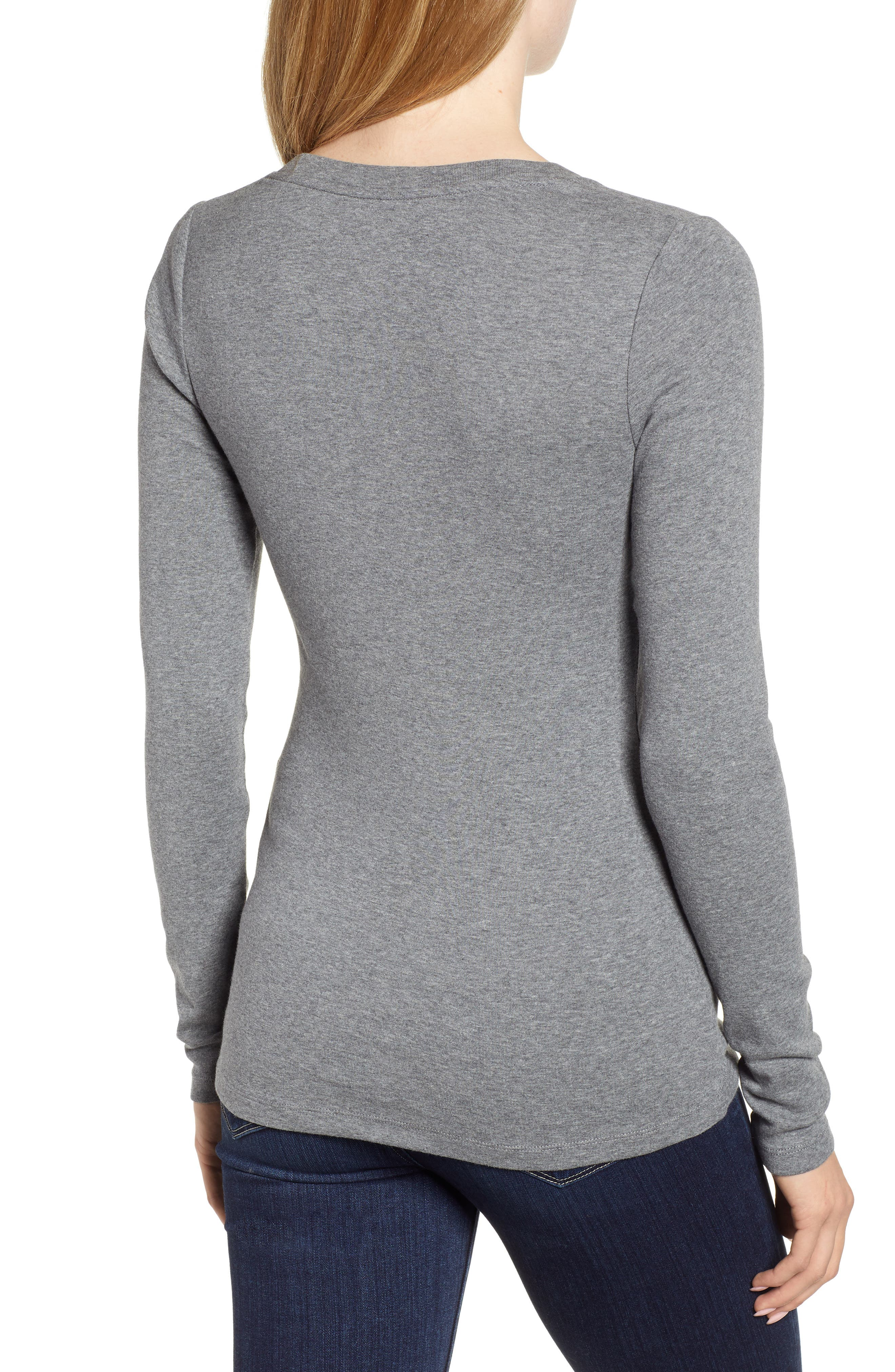 CASLON<SUP>®</SUP>, 'Melody' Long Sleeve Scoop Neck Tee, Alternate thumbnail 2, color, GREY DARK HEATHER