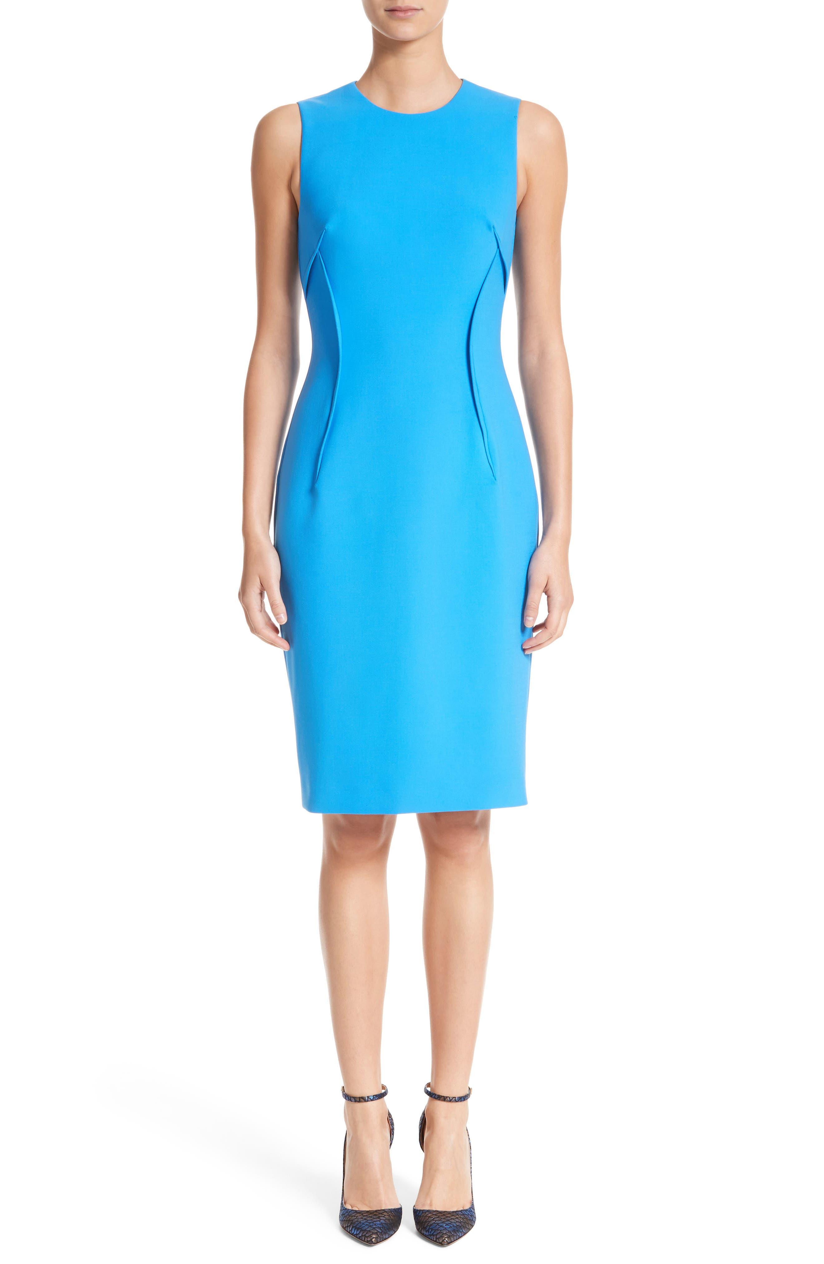 VERSACE COLLECTION, Stretch Cady Sheath Dress, Alternate thumbnail 5, color, BLACK