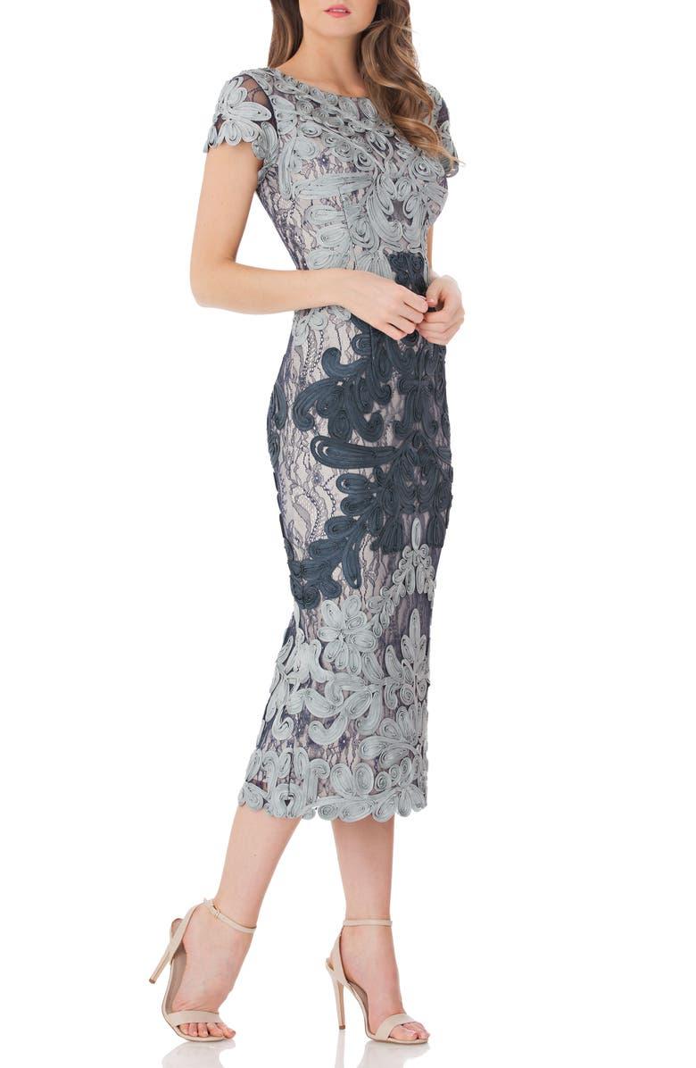 Js Collections Dresses SOUTACHE LACE MIDI DRESS