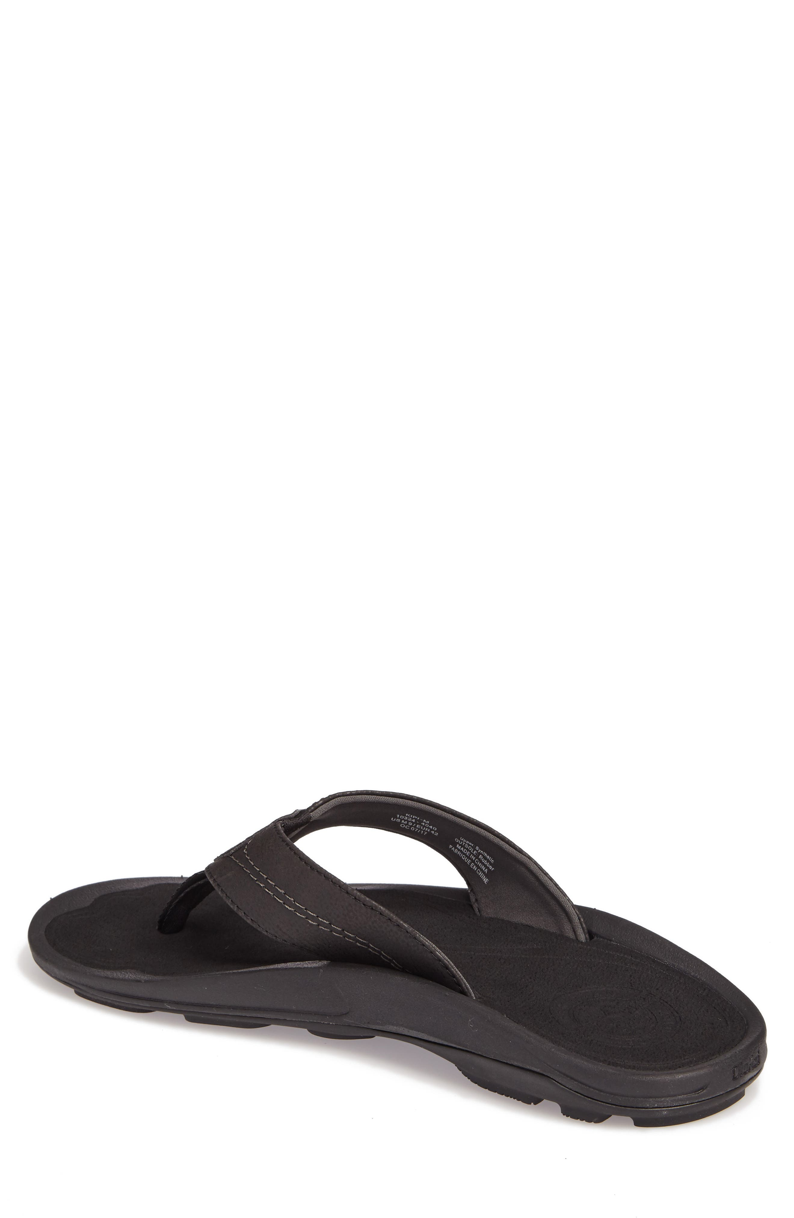OLUKAI, Kipi Flip Flop, Alternate thumbnail 2, color, BLACK/ BLACK