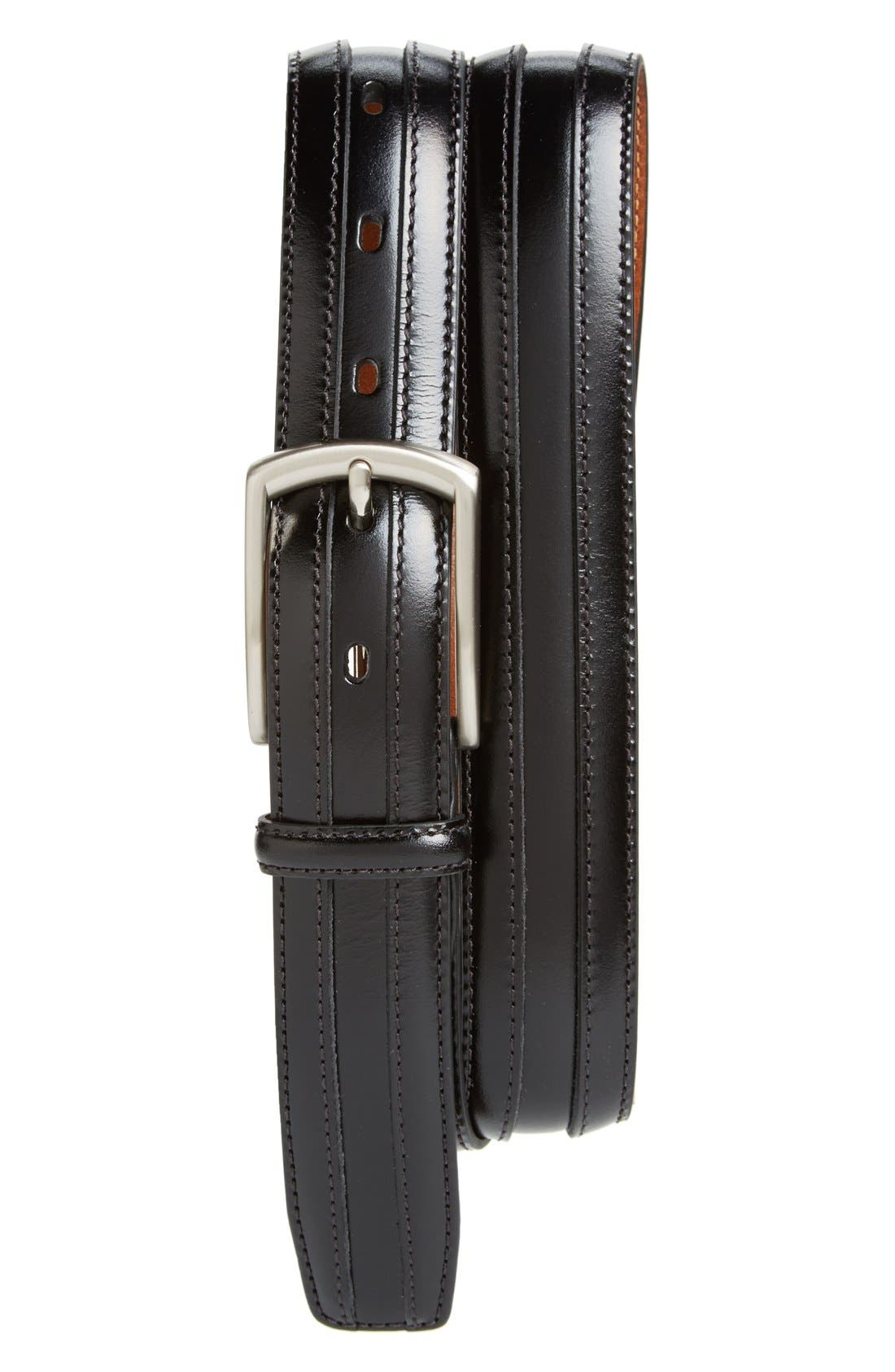 JOHNSTON & MURPHY, Calfskin Belt, Main thumbnail 1, color, BLACK