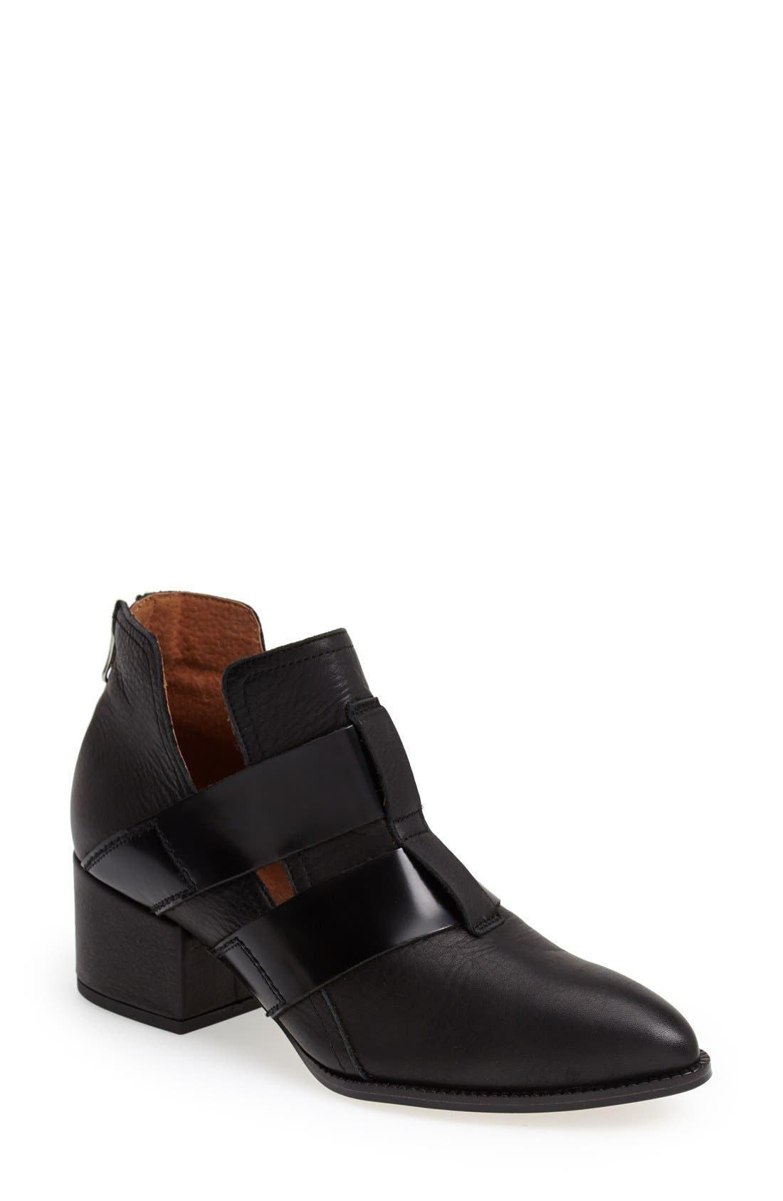 SIXTYSEVEN, 'Alice' Pointy Toe Leather Ankle Bootie, Main thumbnail 1, color, 001