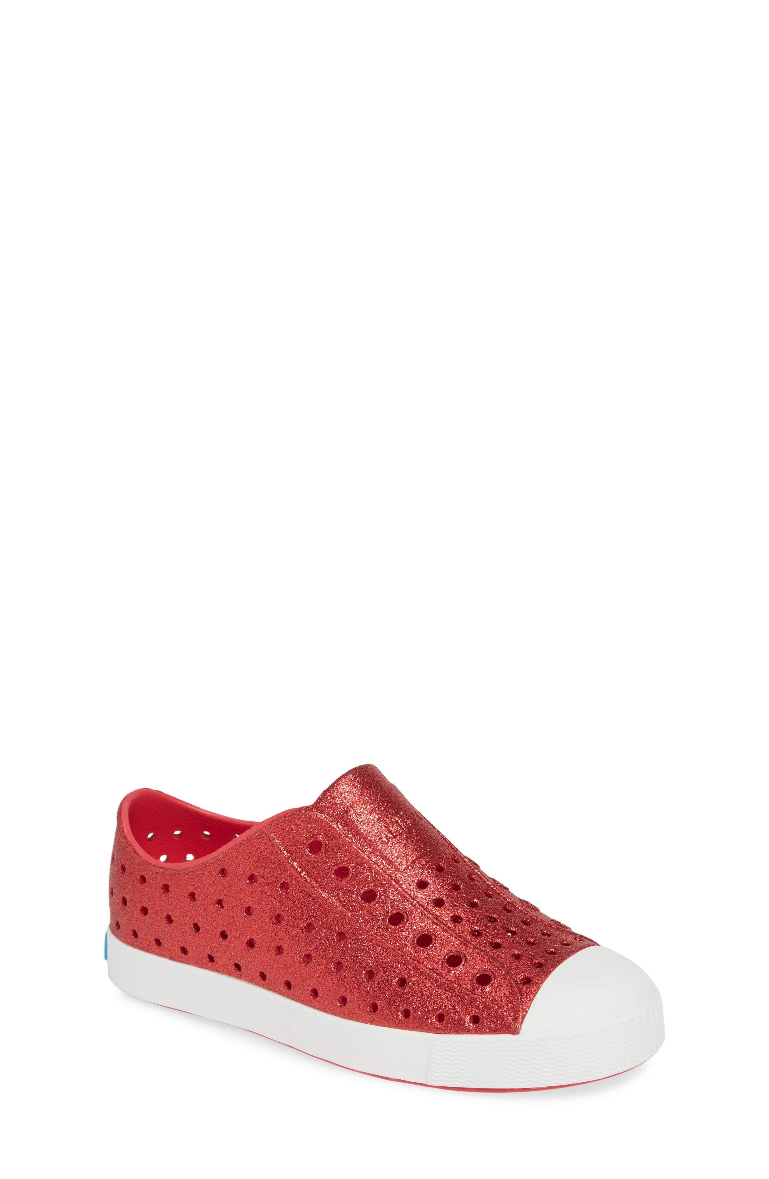 NATIVE SHOES, Jefferson Bling Glitter Slip-On Vegan Sneaker, Main thumbnail 1, color, SAKURA BLING/ SHELL WHITE