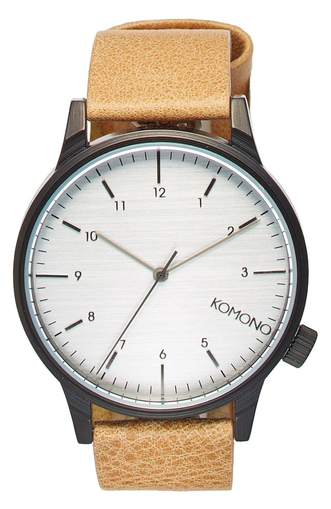 KOMONO 'Winston Regal' Leather Strap Watch, 42mm, Main, color, 230