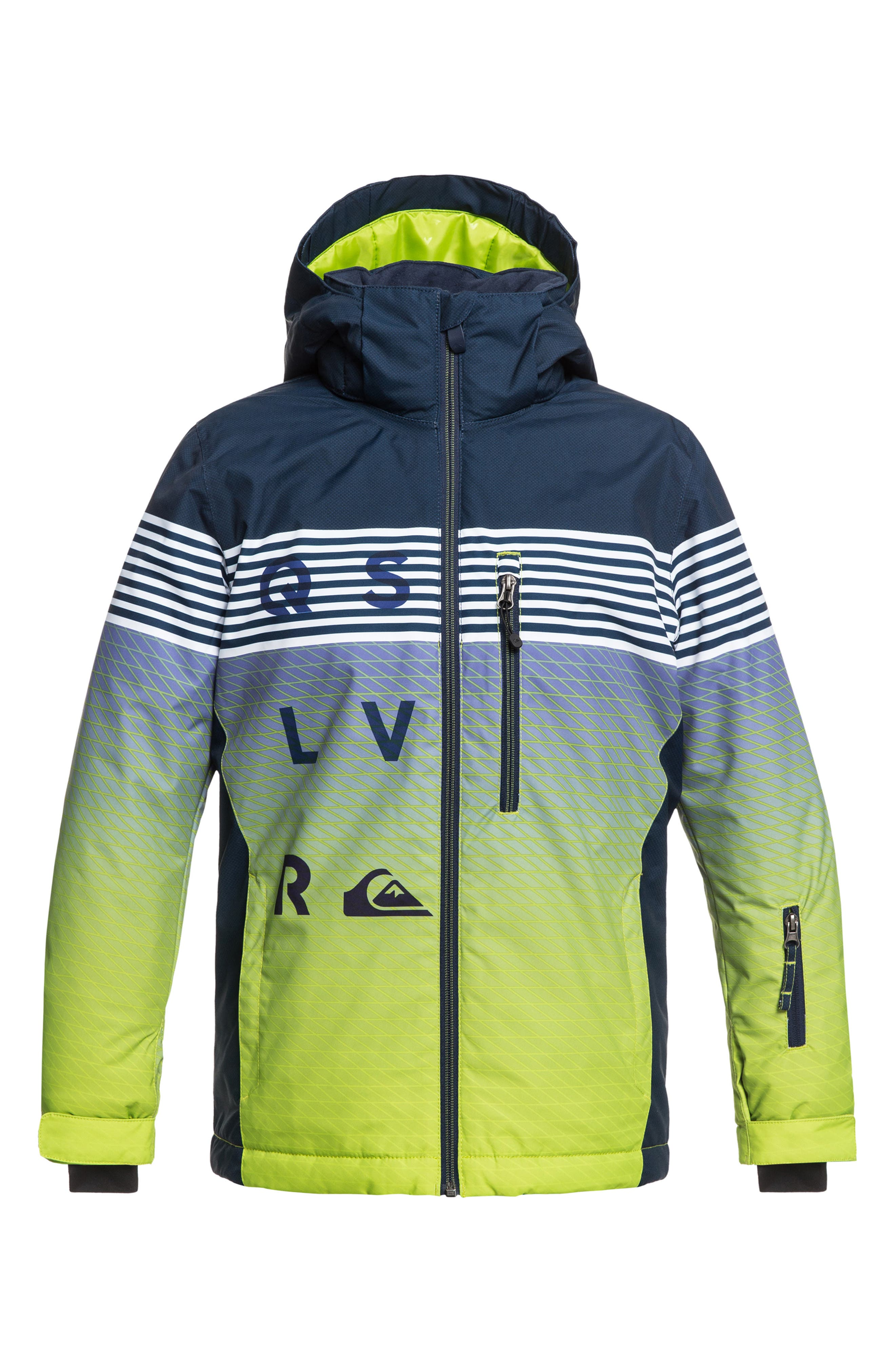 Boys Quiksilver Mission Engineered Waterproof Insulated Jacket Size XL (16)  Green