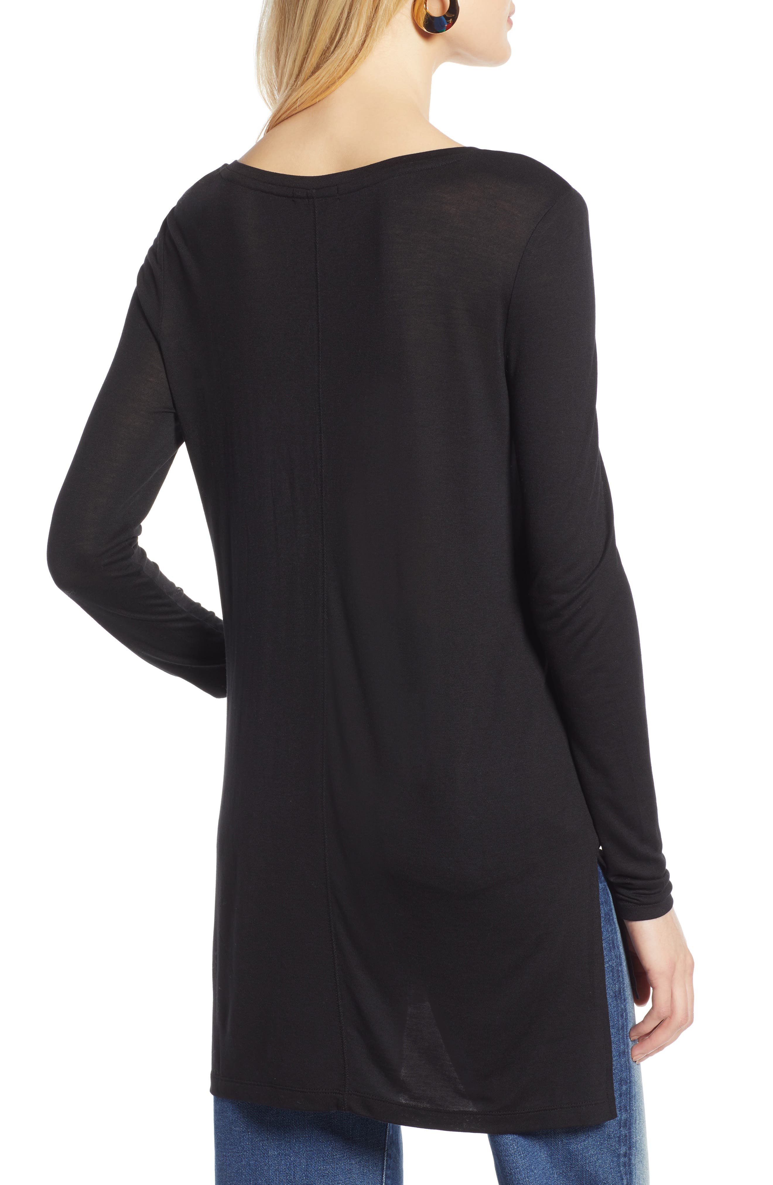HALOGEN<SUP>®</SUP>, Long Sleeve Lightweight Tunic, Alternate thumbnail 3, color, 001