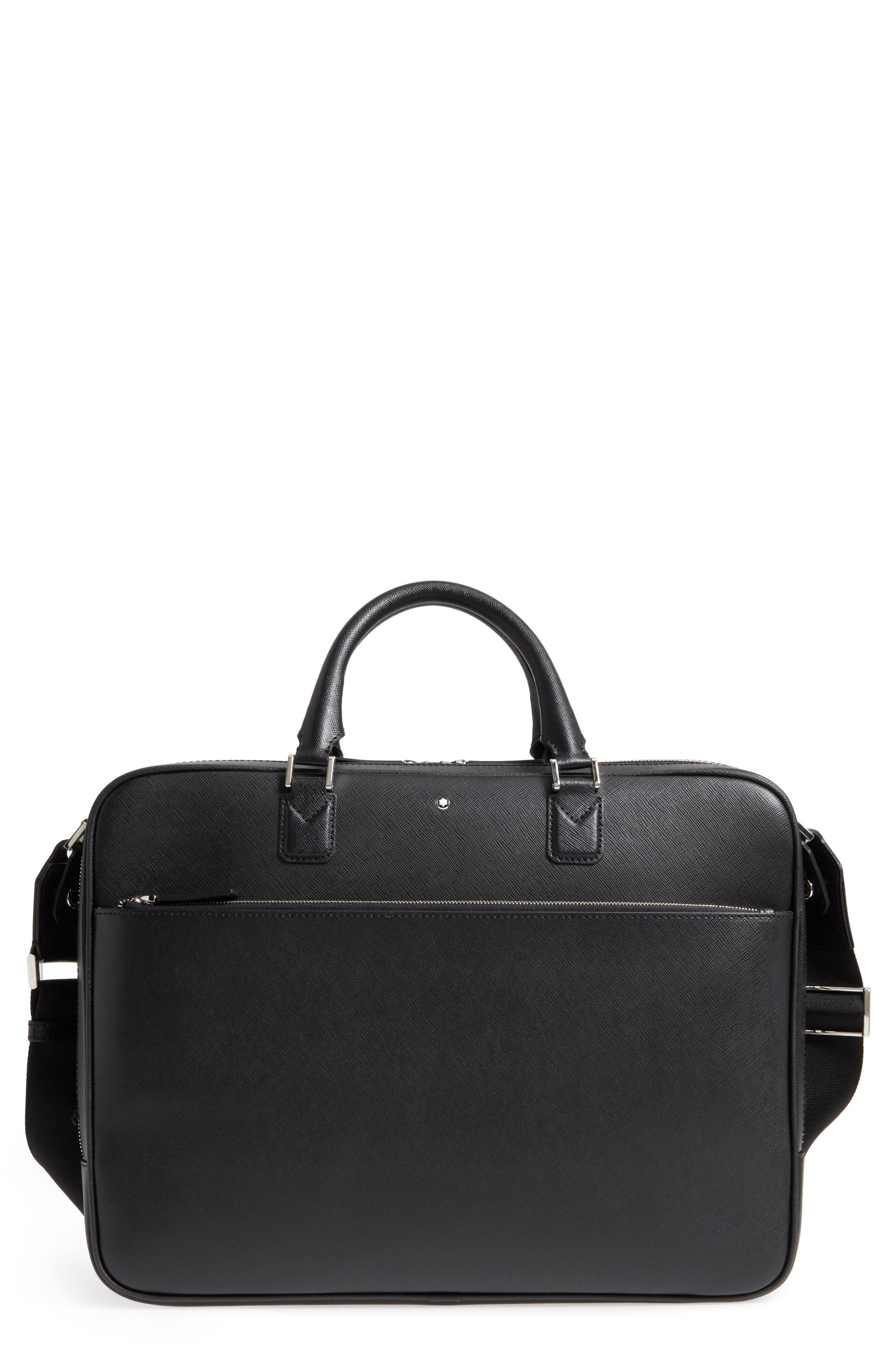 MONTBLANC, Sartorial Leather Briefcase, Main thumbnail 1, color, 001