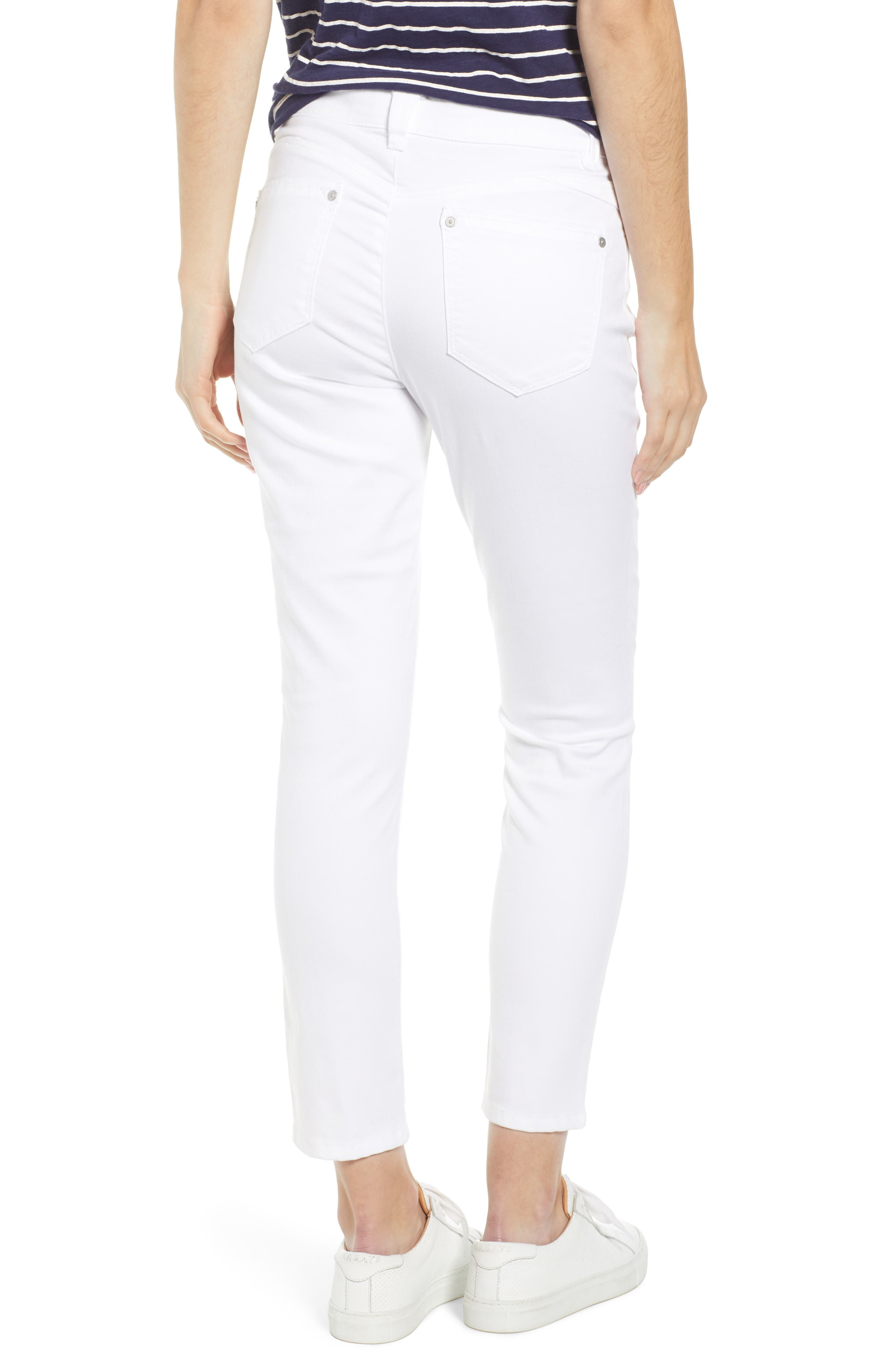 WIT & WISDOM, Ab-Solution High Waist Ankle Skinny Jeans, Alternate thumbnail 2, color, OPTIC WHITE