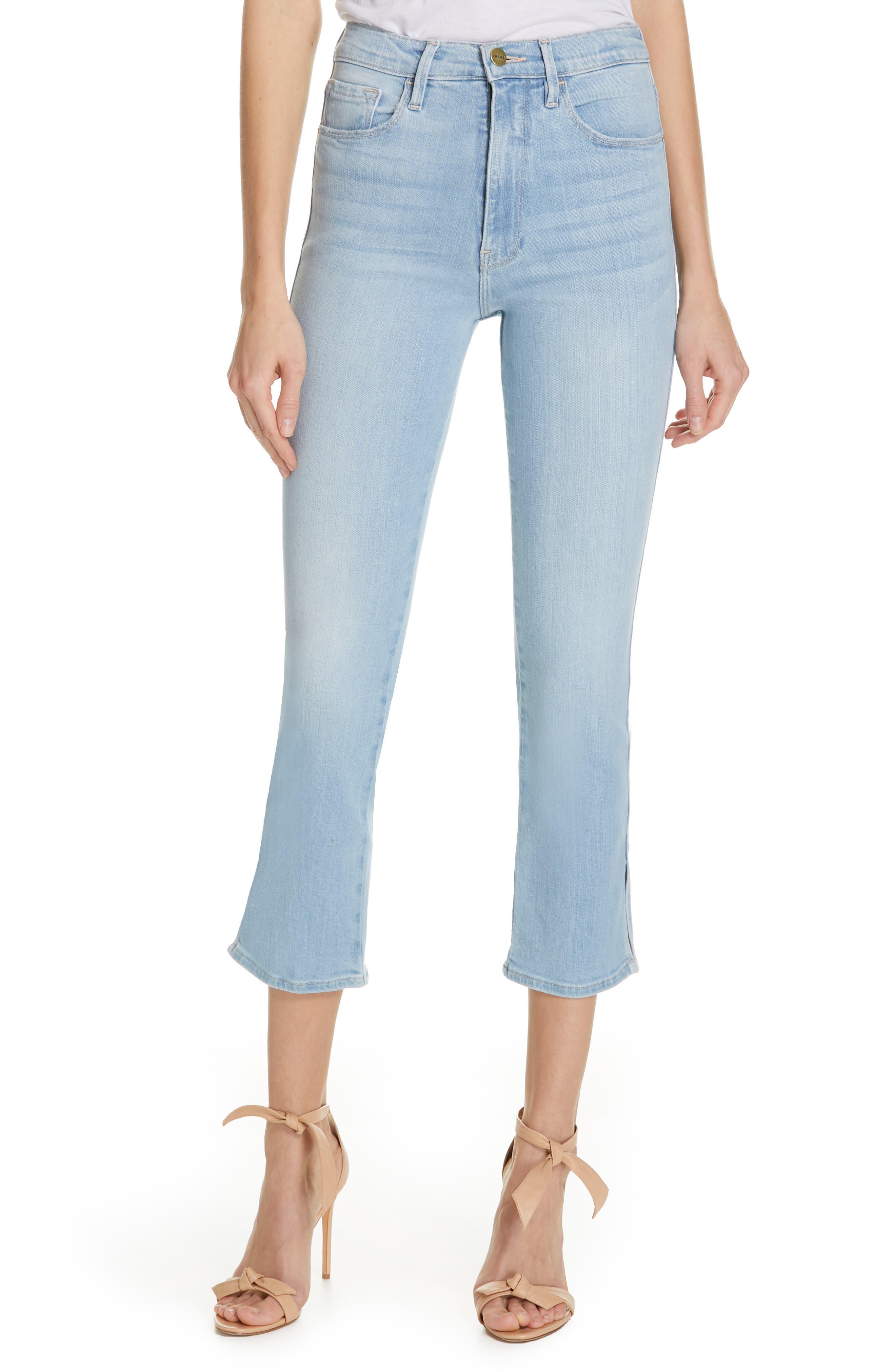 FRAME Le Sylvie Slit Hem Crop Slim Jeans, Main, color, SUPERSTAR