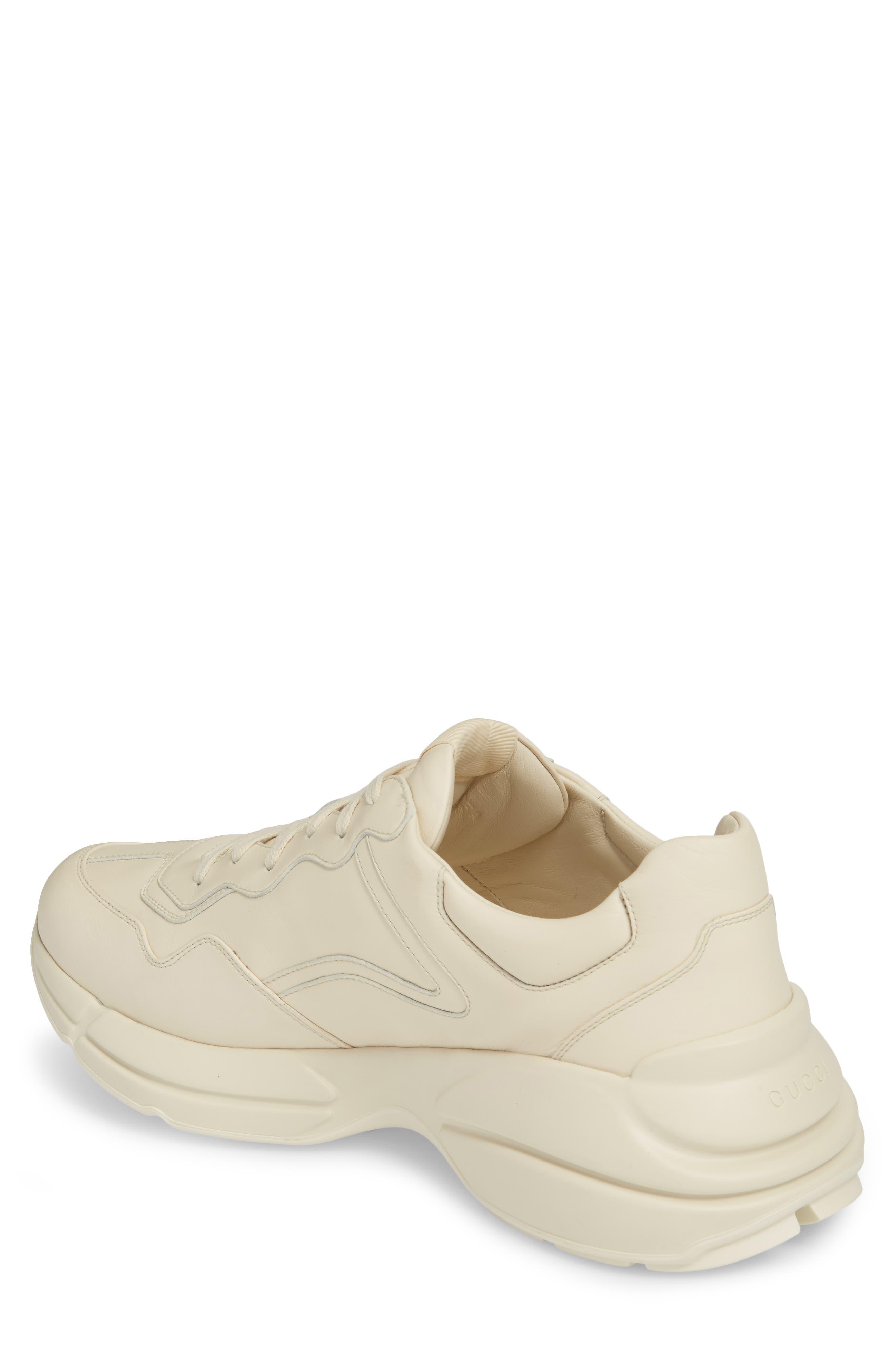 GUCCI, Logo Leather Sneaker, Alternate thumbnail 2, color, WHITE PRINT