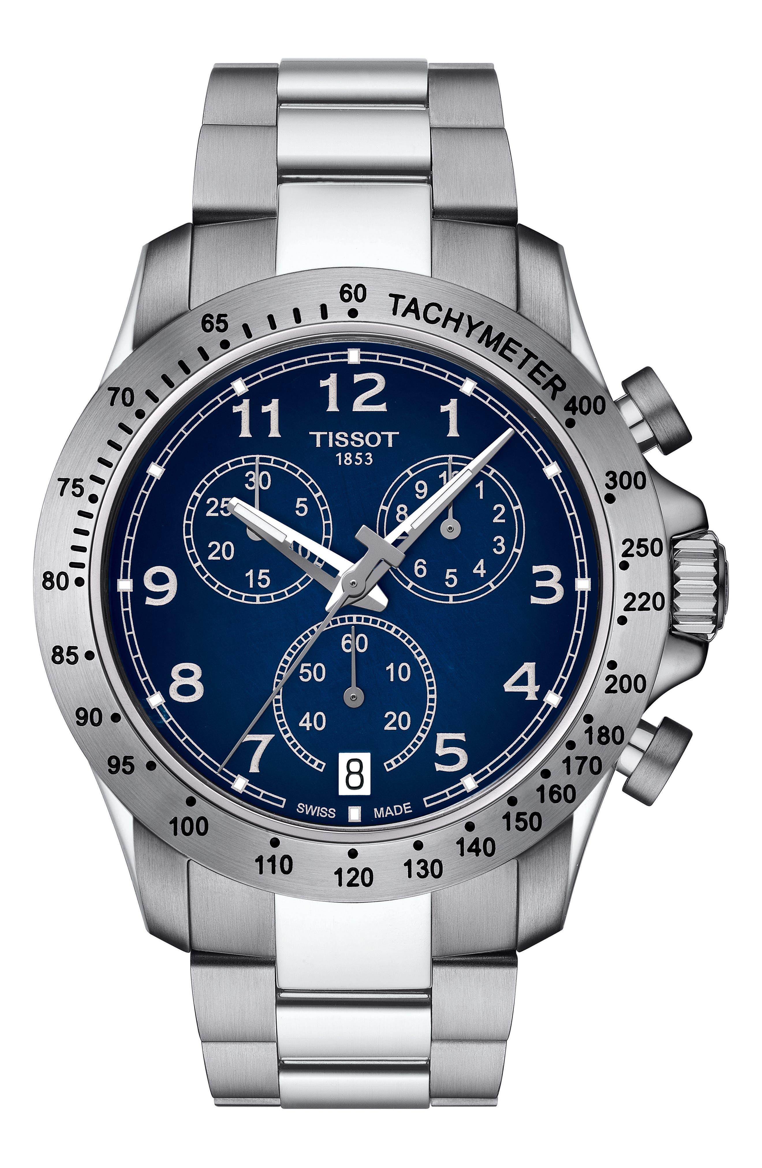 TISSOT, V8 Chronograph Bracelet Watch, 42.5mm, Main thumbnail 1, color, SILVER/ BLUE/ SILVER