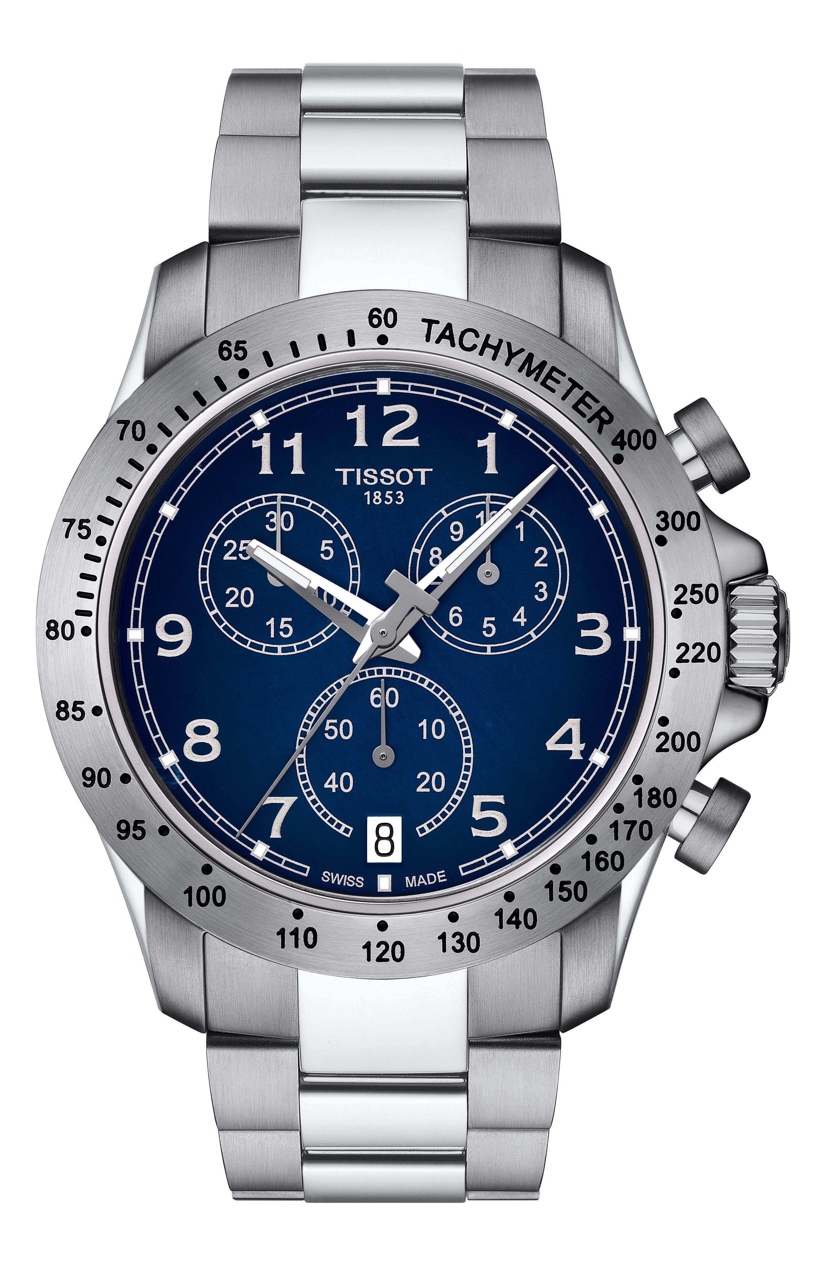 TISSOT V8 Chronograph Bracelet Watch, 42.5mm, Main, color, SILVER/ BLUE/ SILVER