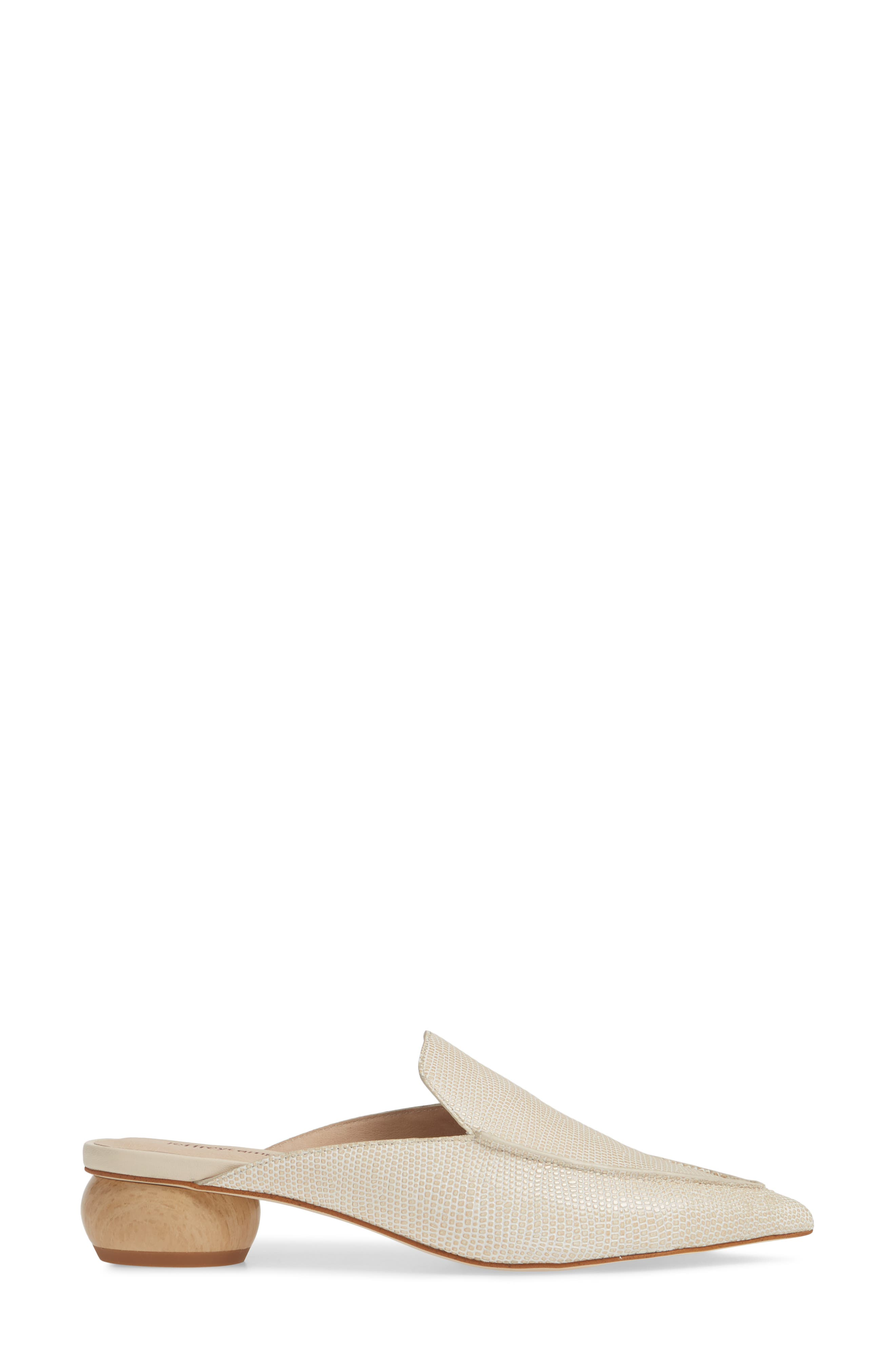 JEFFREY CAMPBELL, Vionit Lizard Embossed Loafer Mule, Alternate thumbnail 3, color, BEIGE LIZARD PRINT