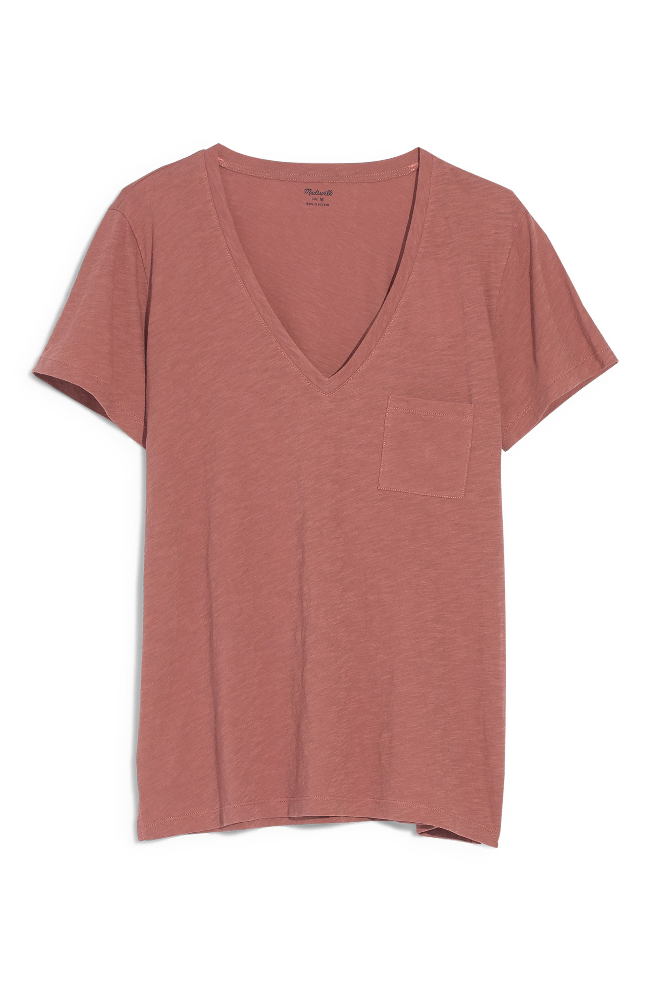 MADEWELL, Whisper Cotton V-Neck Pocket Tee, Alternate thumbnail 6, color, AUTUMN BERRY