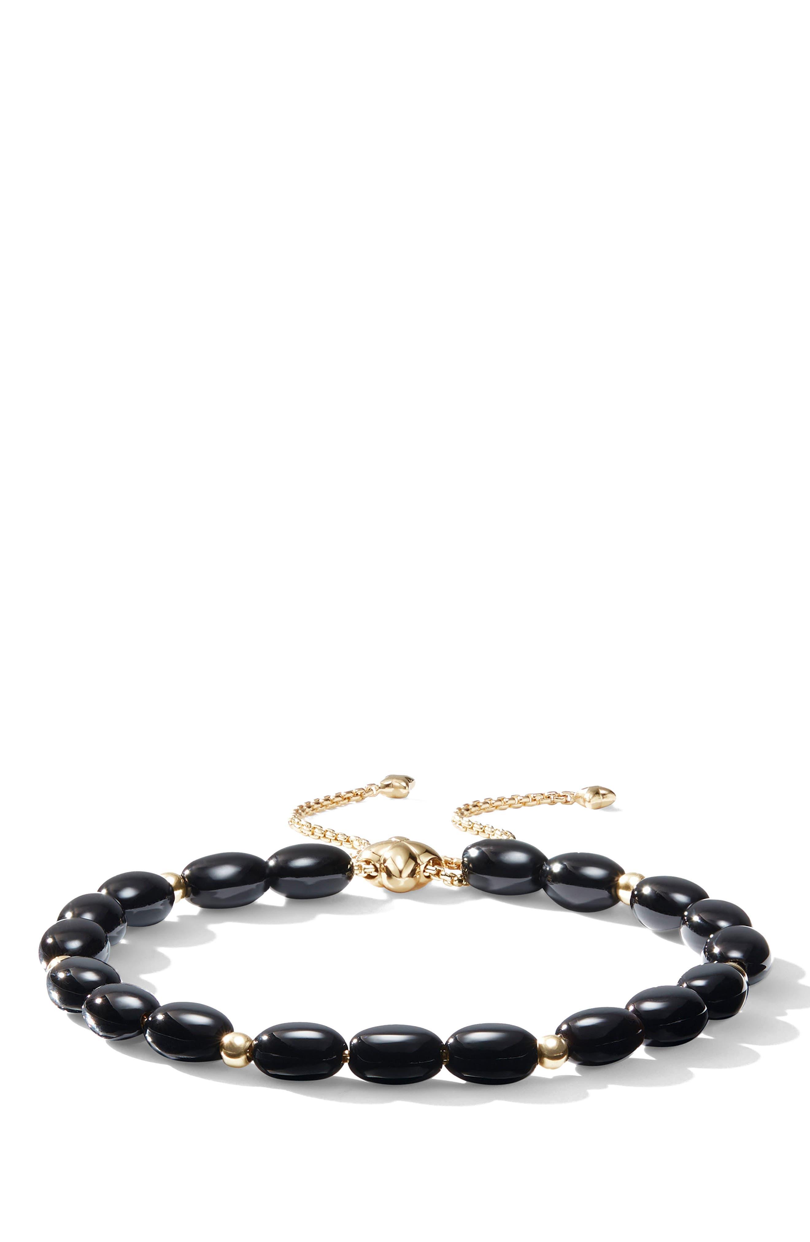 DAVID YURMAN, Spiritual Bead Bracelet with 18k Gold, Main thumbnail 1, color, BLACK ONYX