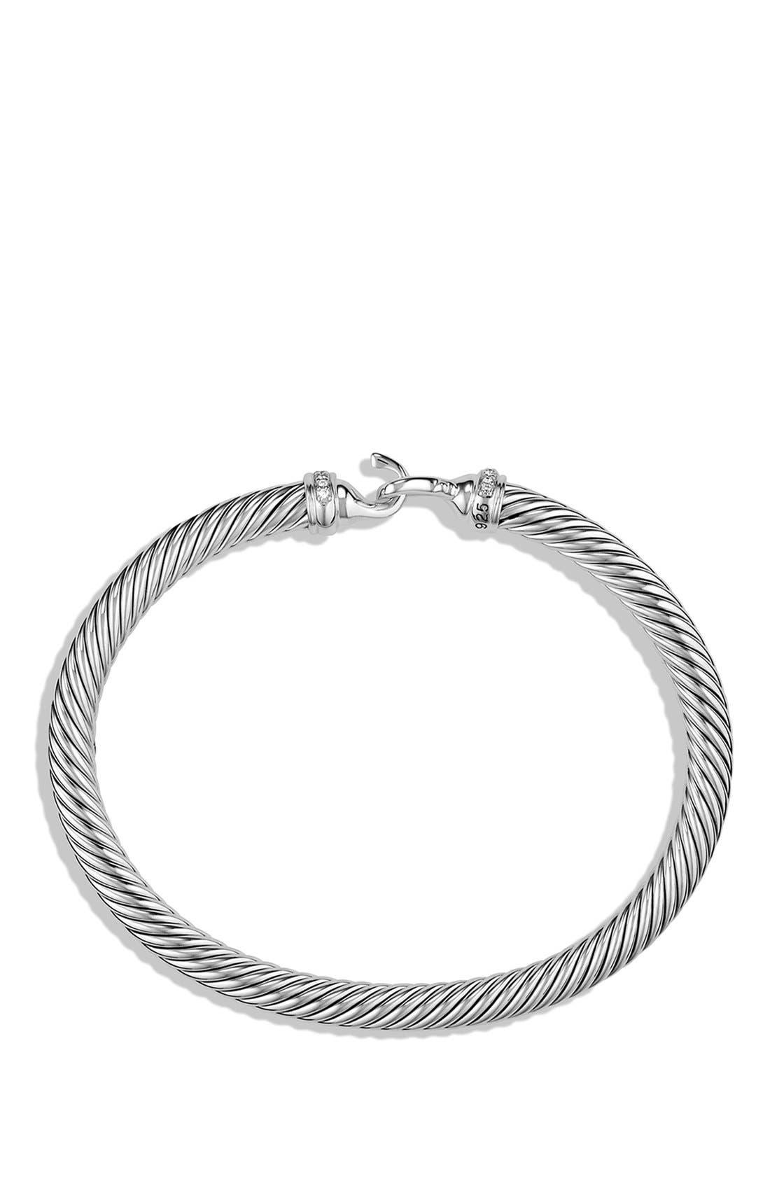 DAVID YURMAN, Cable Buckle Bracelet with Diamonds, 5mm, Alternate thumbnail 3, color, DIAMOND
