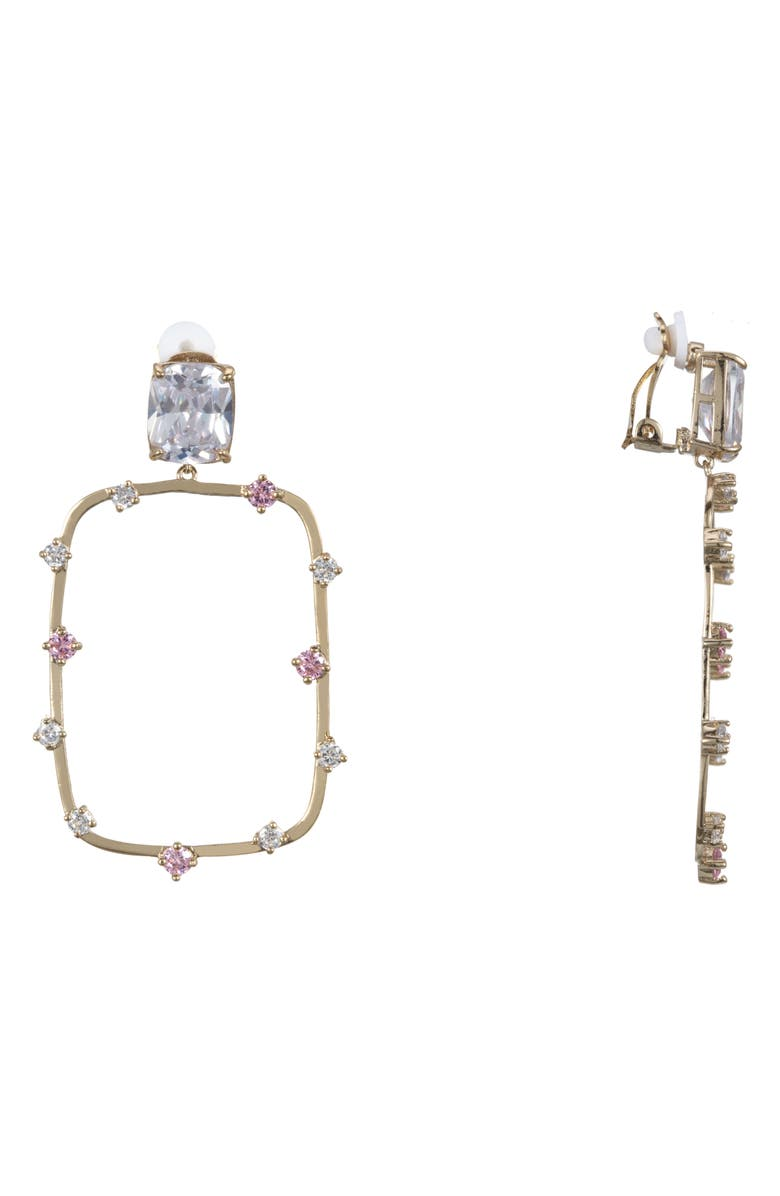 Nina Accessories ADORNED RECTANGULAR CLIP-ON EARRINGS