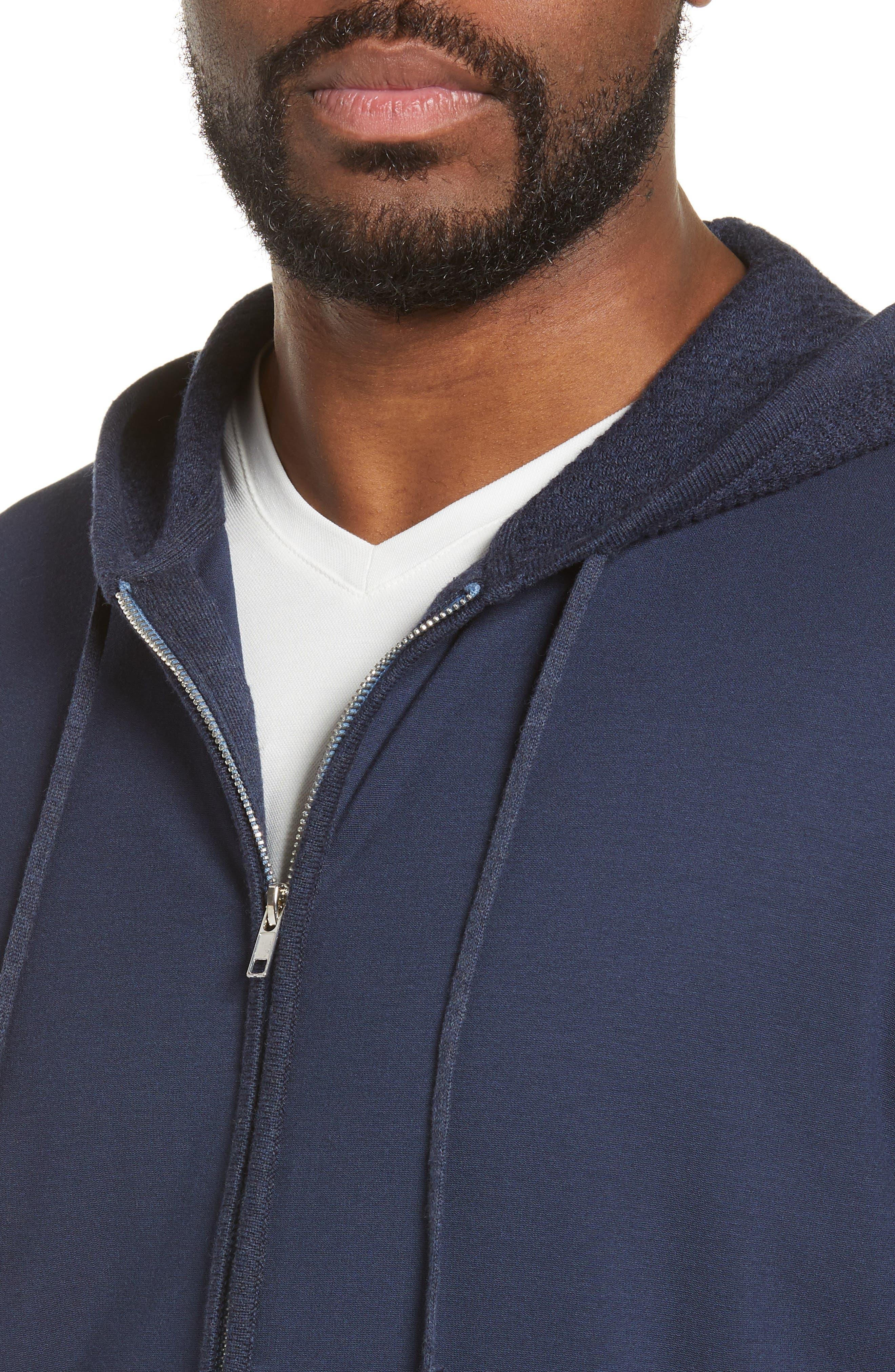 ZACHARY PRELL, Cedarhurst Hooded Zip Sweater, Alternate thumbnail 5, color, NAVY