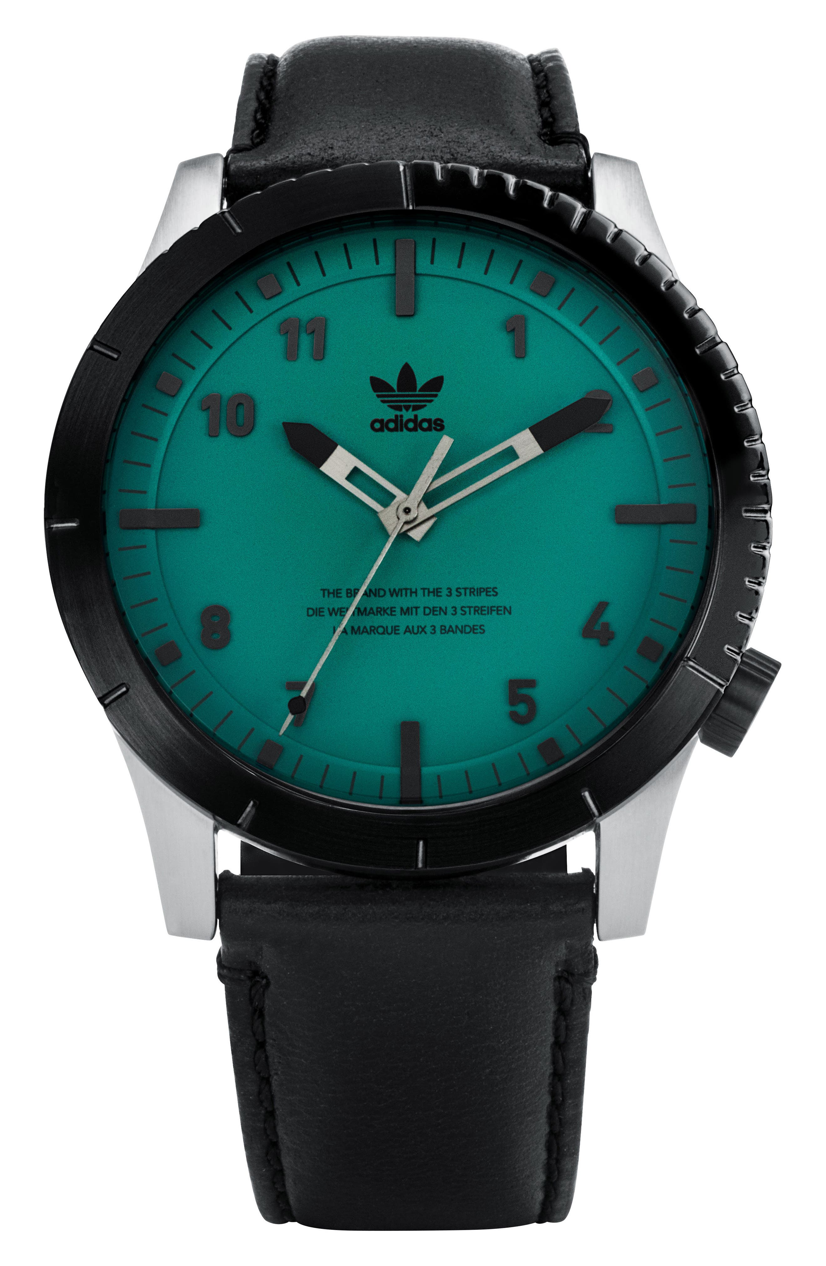 ADIDAS, Cypher Leather Strap Watch, 42mm, Main thumbnail 1, color, SILVER/ BLACK/ GREEN