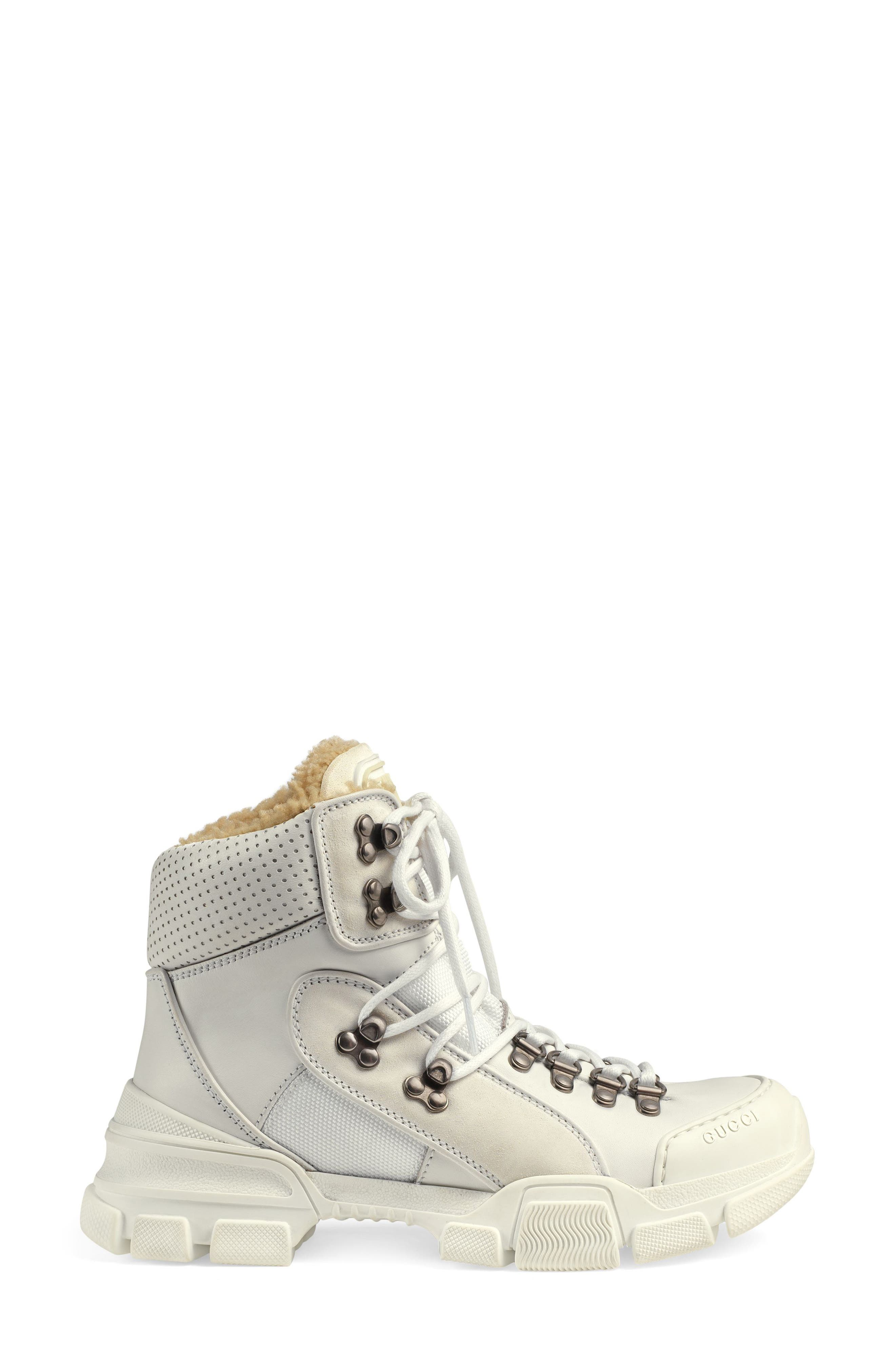 GUCCI, Journey Genuine Shearling Hiker Boot, Alternate thumbnail 2, color, WHITE
