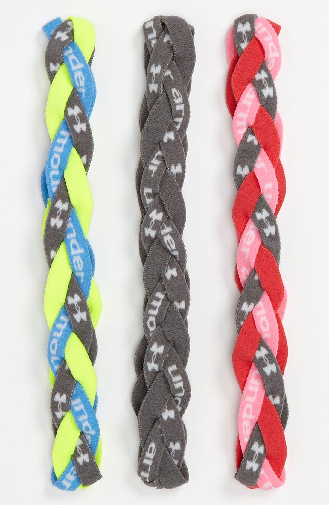 UNDER ARMOUR, Braided Headband, Main thumbnail 1, color, 020