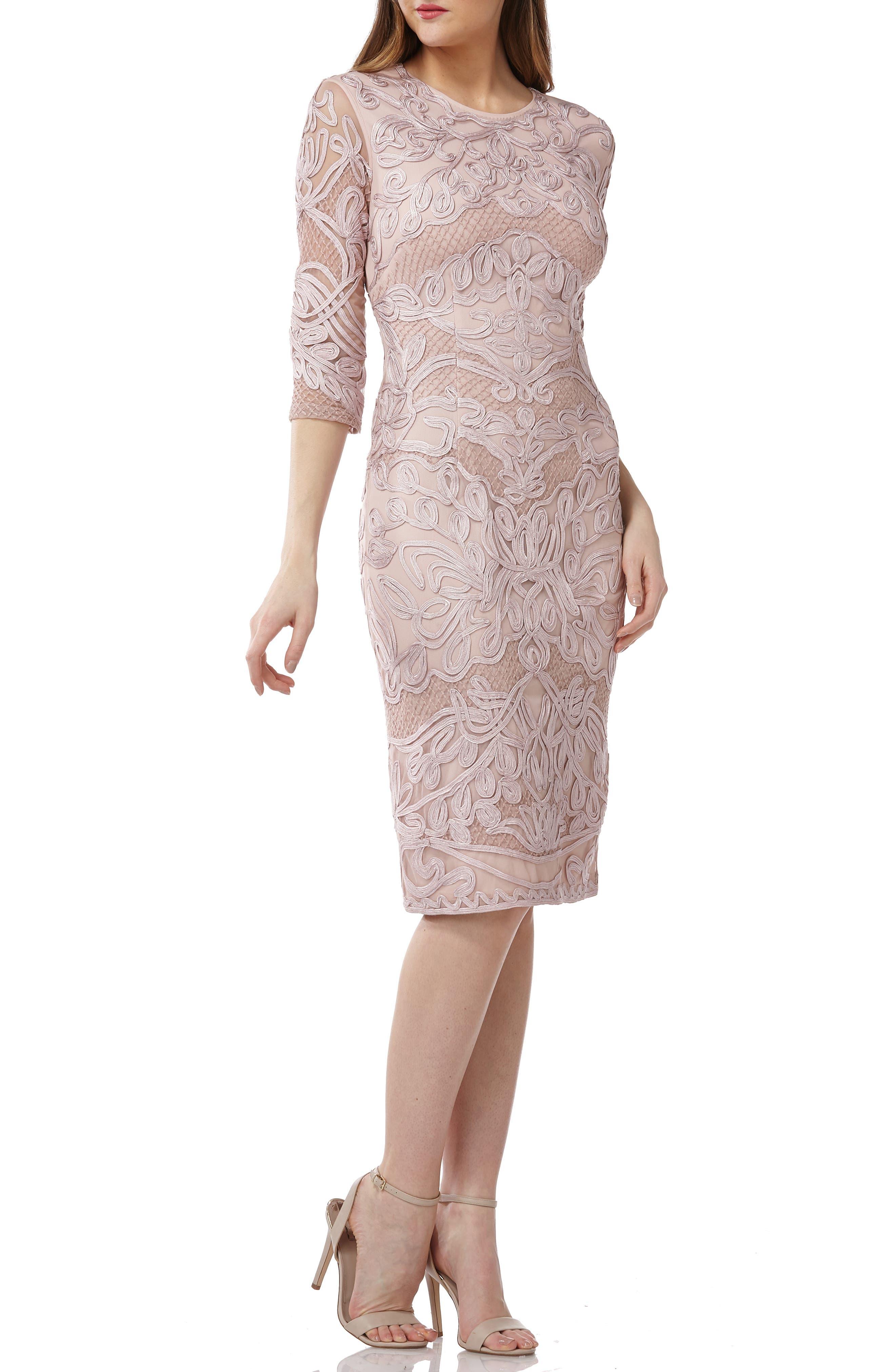 Js Collections Soutache Sheath Dress, Pink