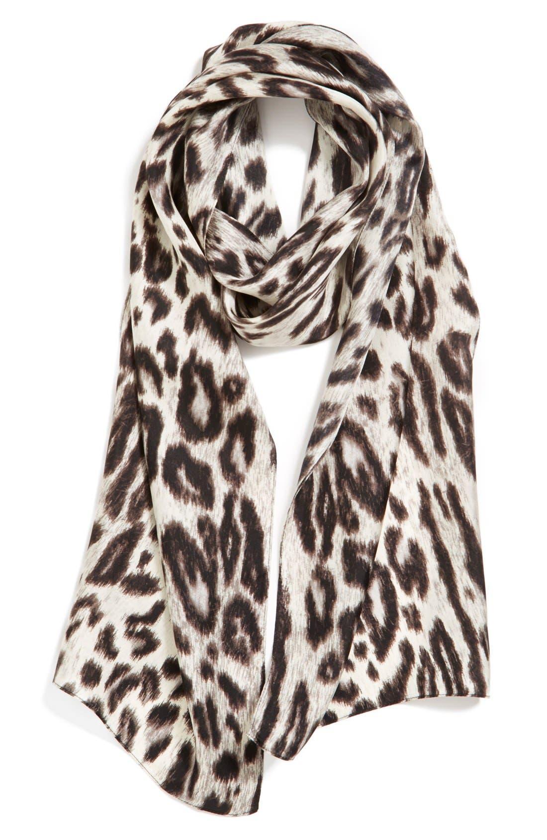 ECHO, Leopard Silk Scarf, Main thumbnail 1, color, 001