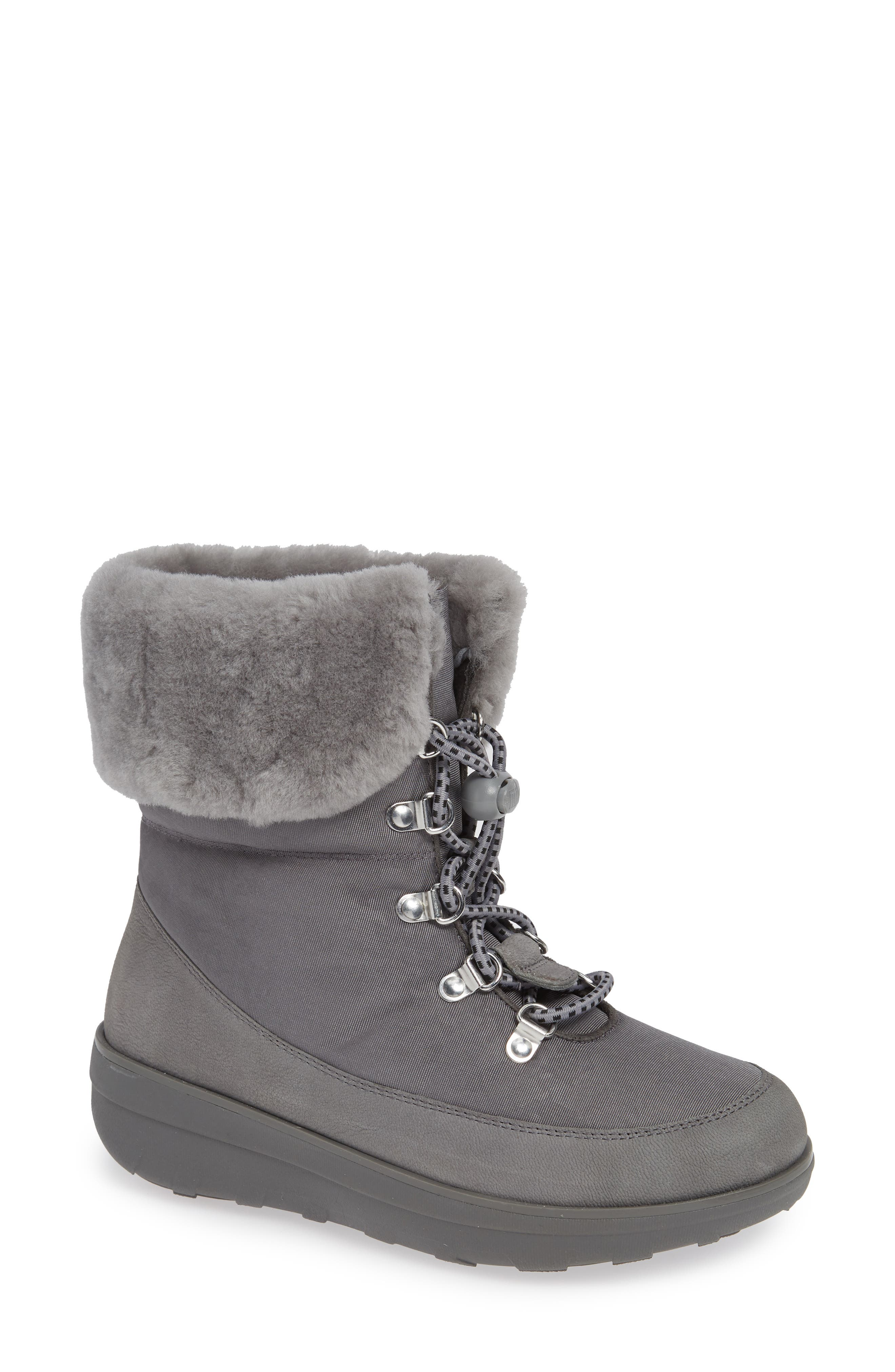 Fitflop Holly Genuine Shearling Lined Bootie, Grey