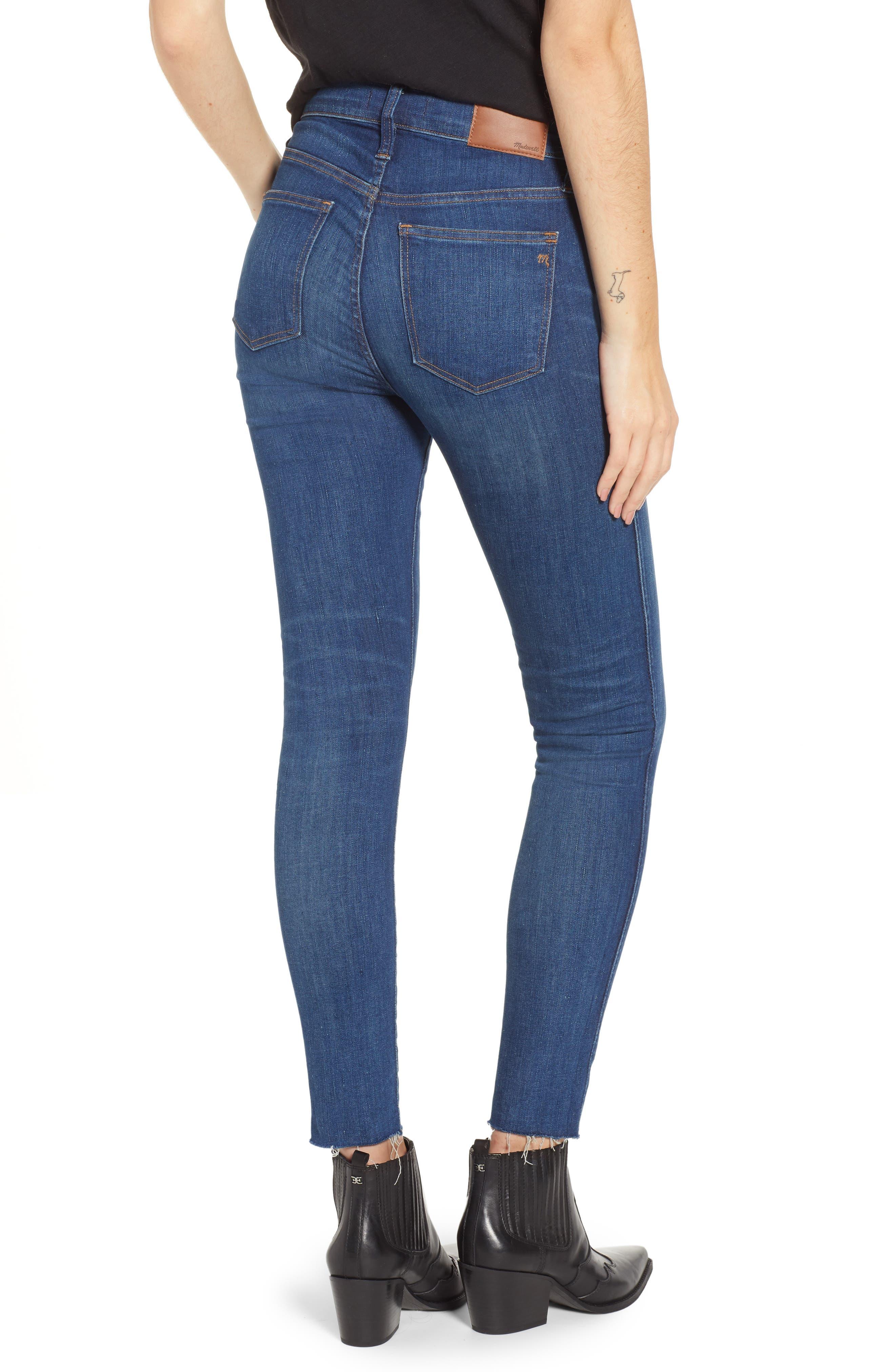 MADEWELL, 9-Inch Skinny Jeans Raw Hem Edition, Alternate thumbnail 2, color, PALOMA