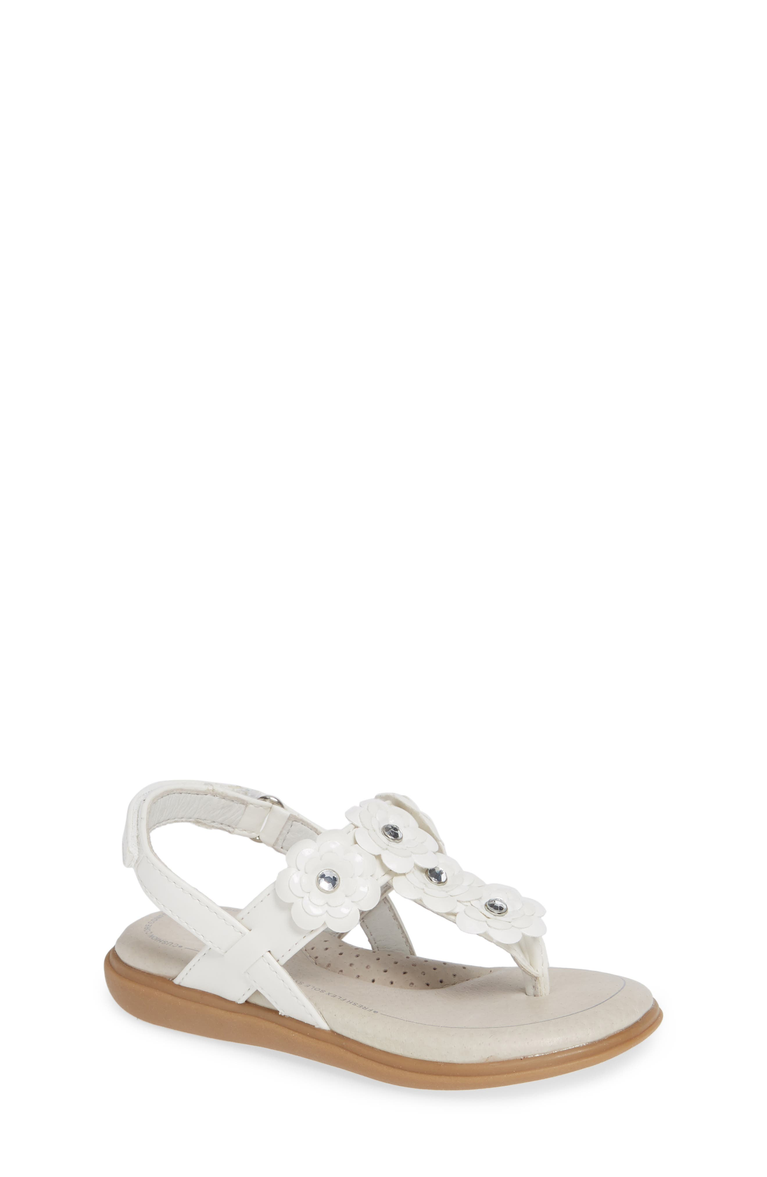 SOLE PLAY, Cora Floral Embellished Sandal, Main thumbnail 1, color, WHITE