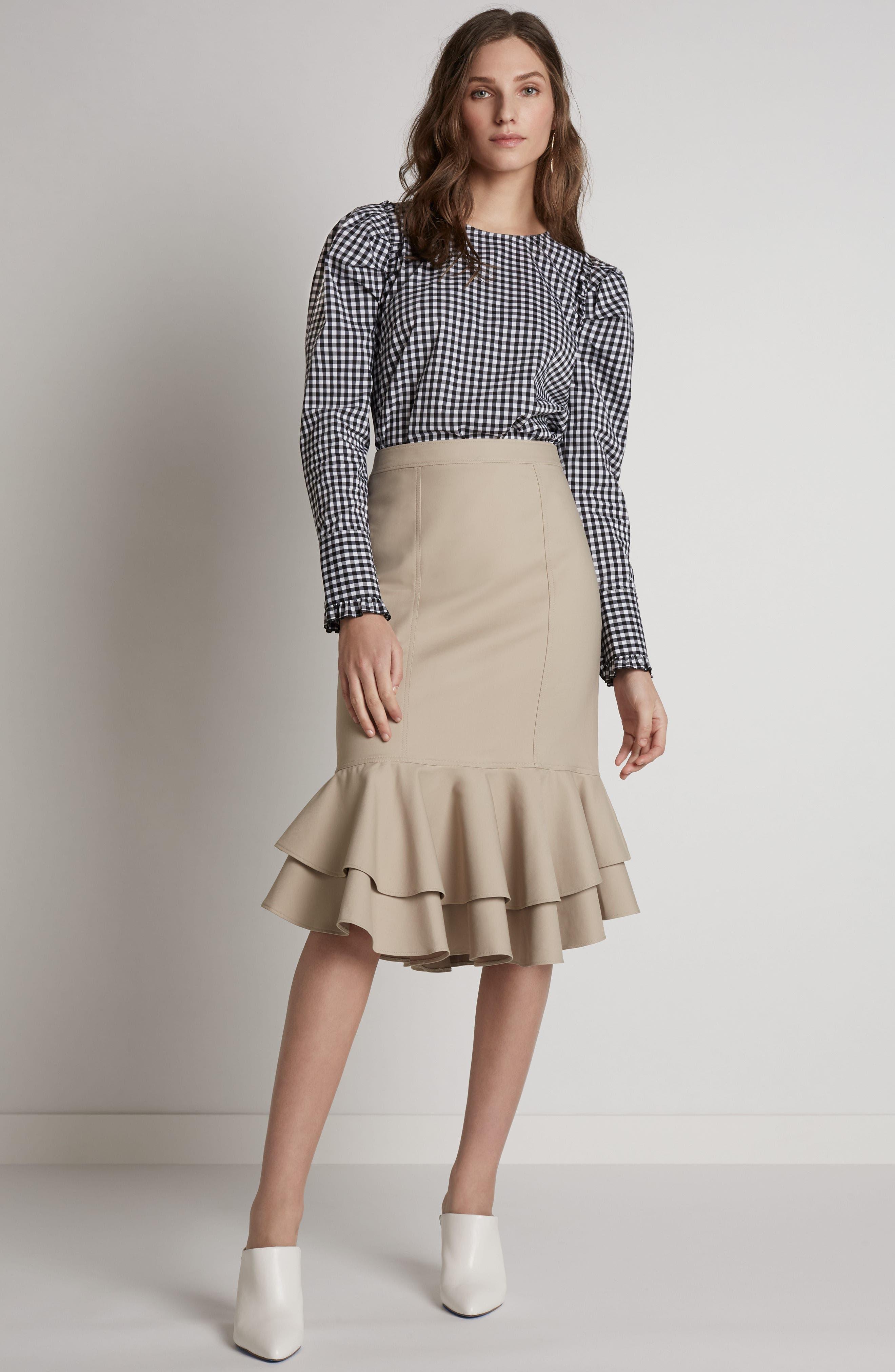 HALOGEN<SUP>®</SUP>, A-Line Dress, Alternate thumbnail 8, color, BLACK TINY TULIP PRINT