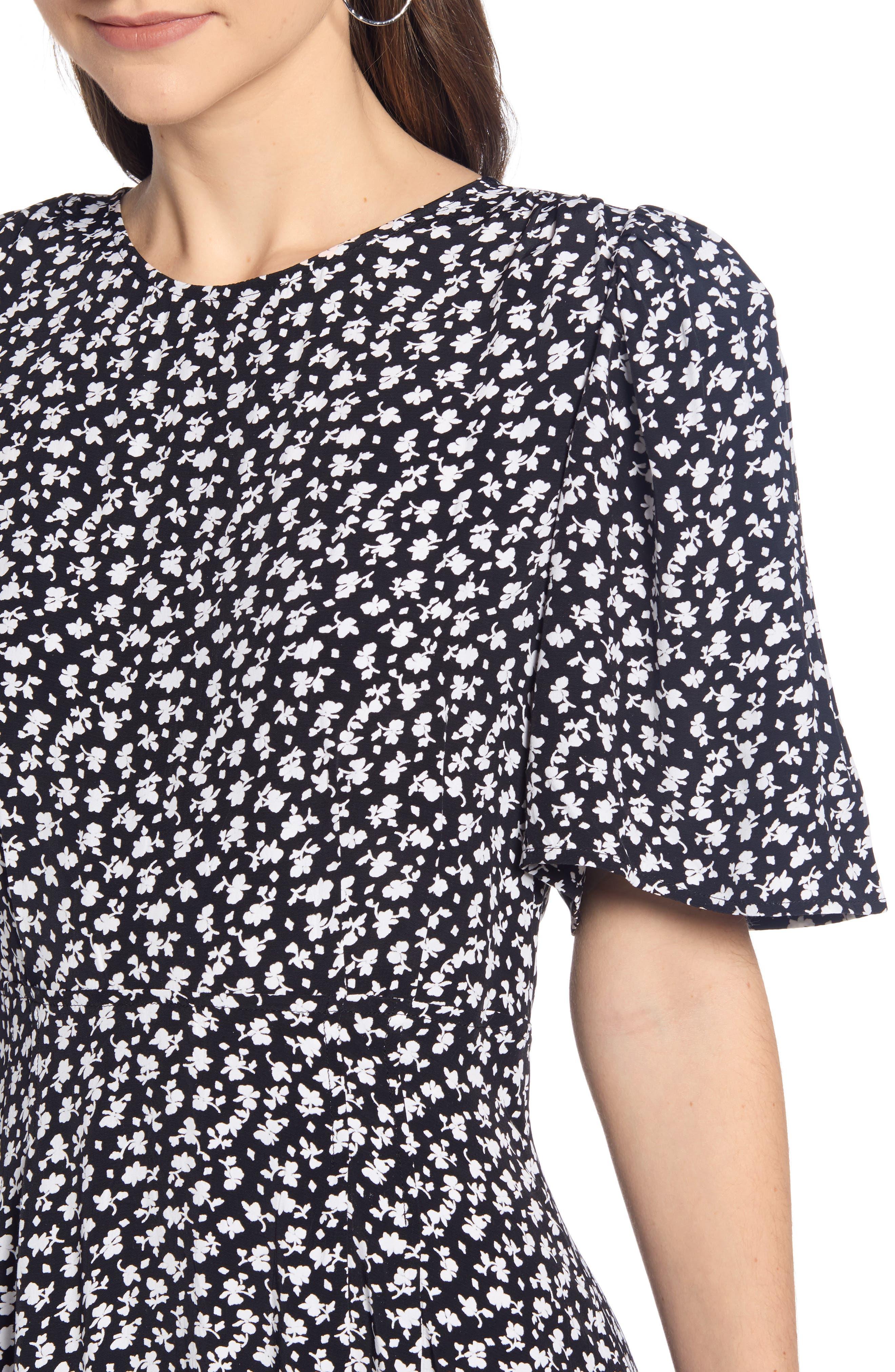 SOMETHING NAVY, Strong Shoulder Floral Print Midi Dress, Alternate thumbnail 6, color, SN BLACK VINTAGE FLORAL