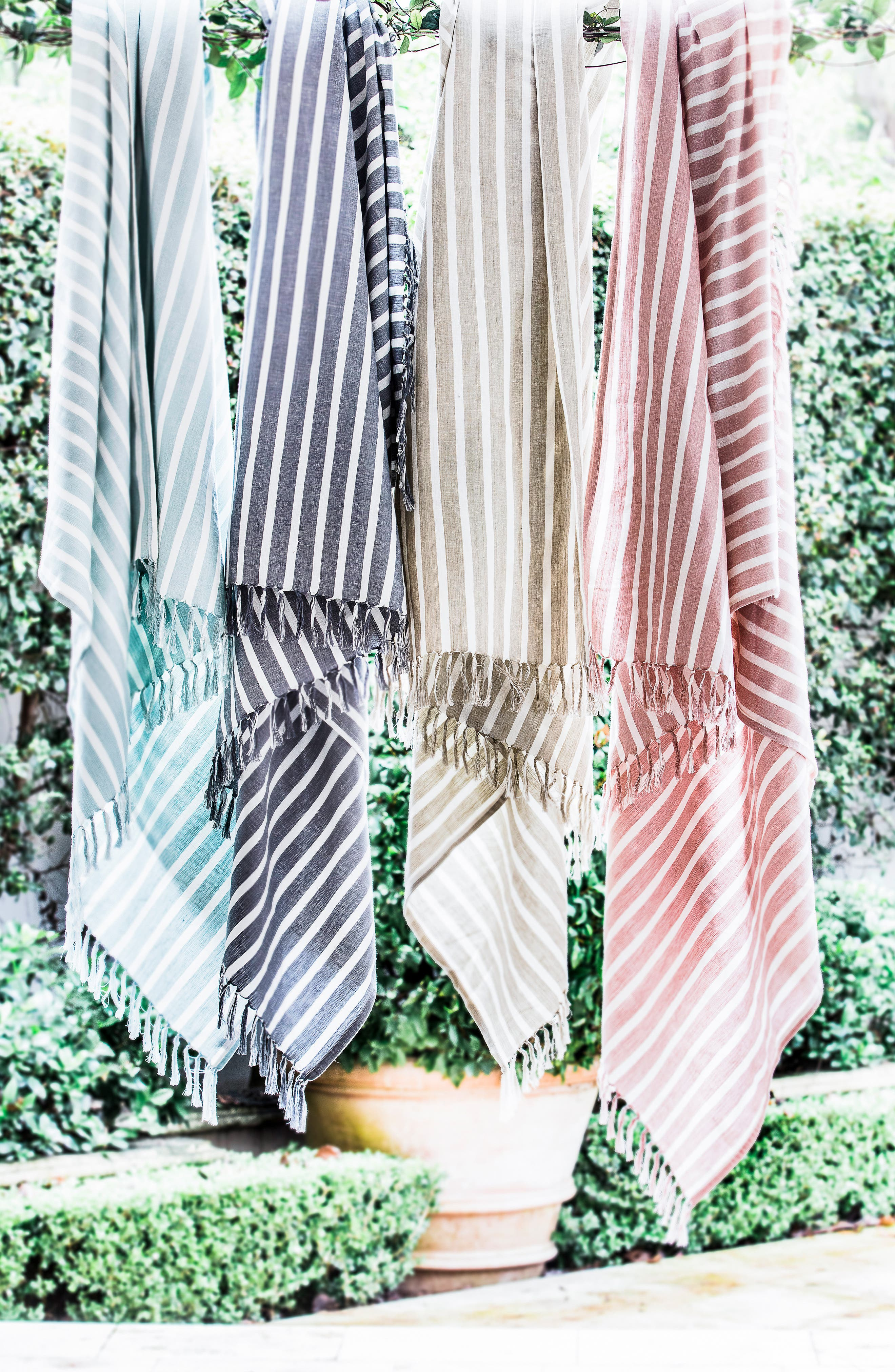 EADIE LIFESTYLE, Coitier Linen & Cotton Throw Blanket, Alternate thumbnail 3, color, SLATE/ WHITE