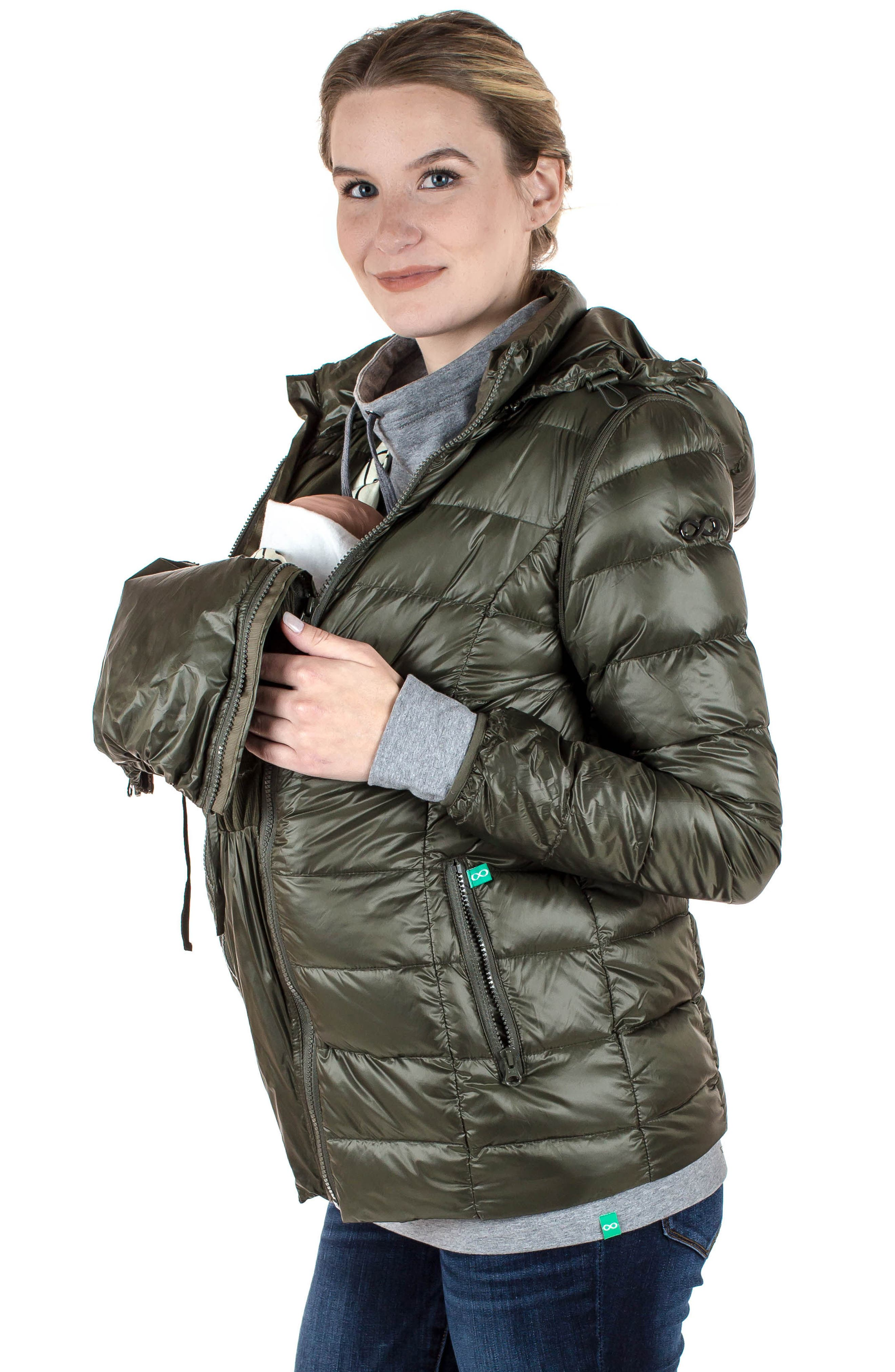 MODERN ETERNITY, Lightweight Puffer Convertible 3-in-1 Maternity Jacket, Alternate thumbnail 13, color, KHAKI GREEN