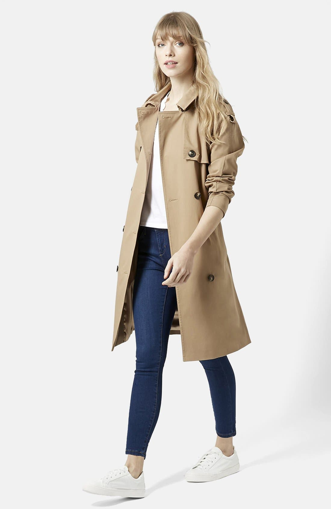 TOPSHOP, Double Breasted Cotton Trench, Alternate thumbnail 2, color, 252