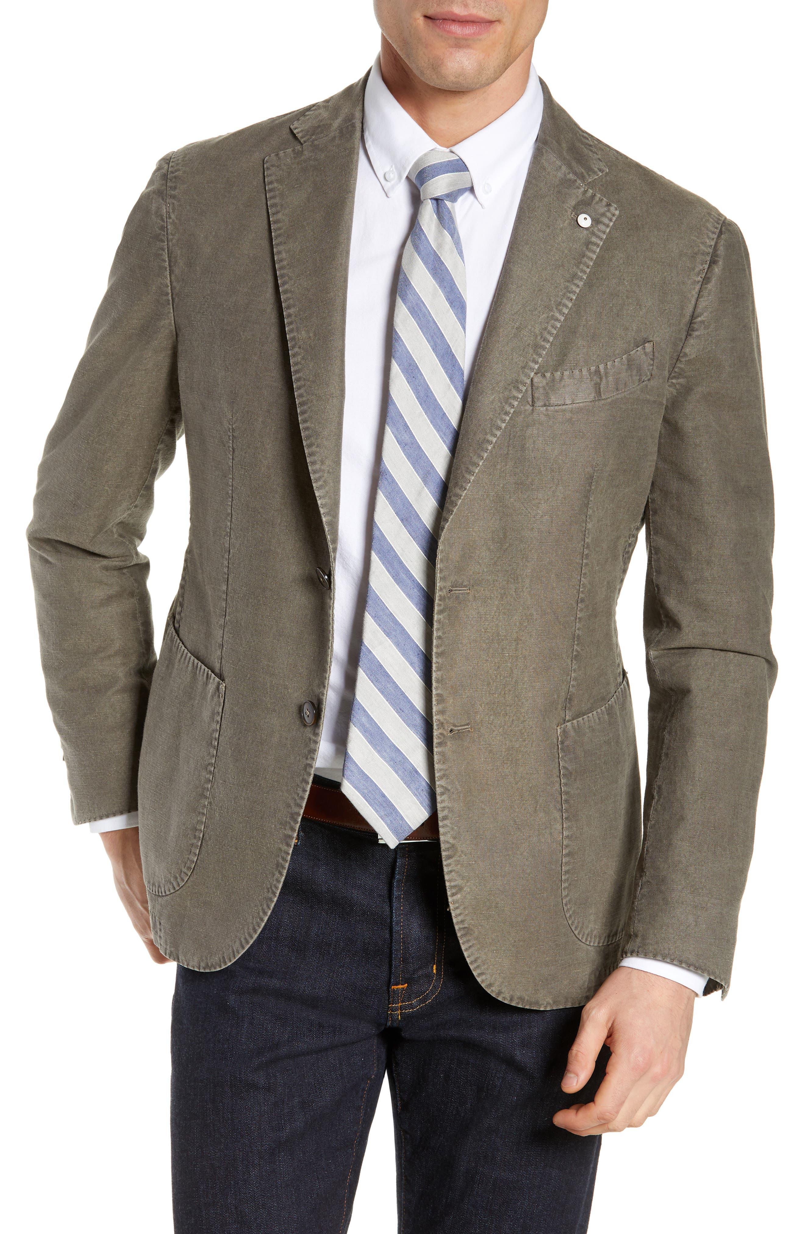L.B.M. 1911 Lubiam Trim Fit Solid Cotton & Linen Sport Coat, Main, color, MEDIUM BROWN